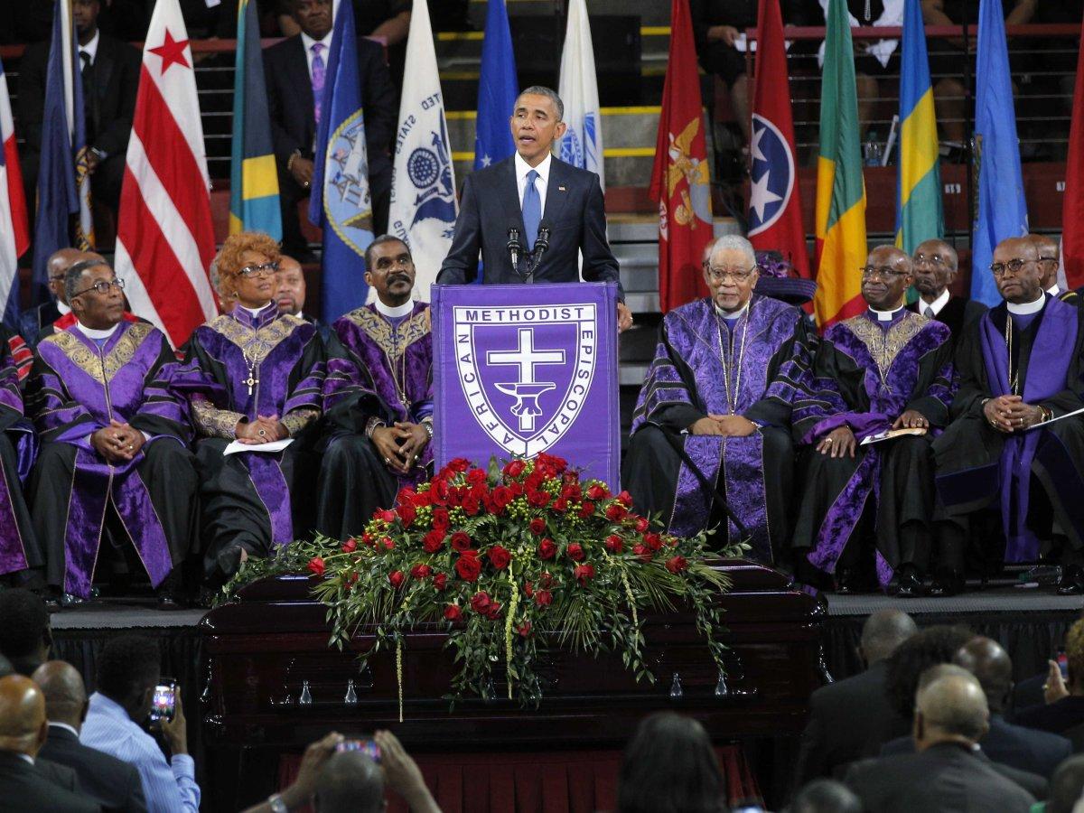 President Barack Obama speaks during funeral services for Rev. Clementa Pinckney.