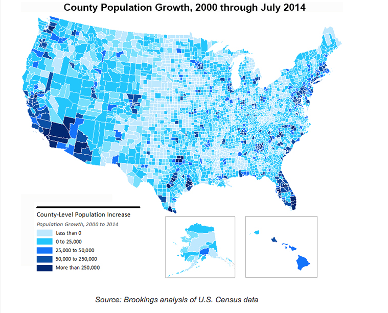 Brookings Institution County Population Growth 2000-July 2014