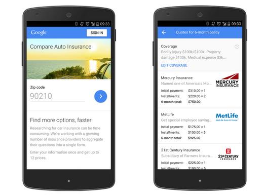 Google Compare screenshot
