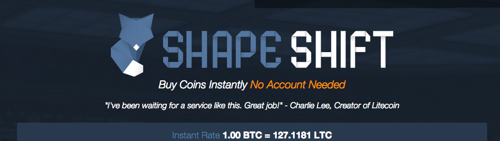 The homepage of Shapeshift's web site before it locked for New York visitors.