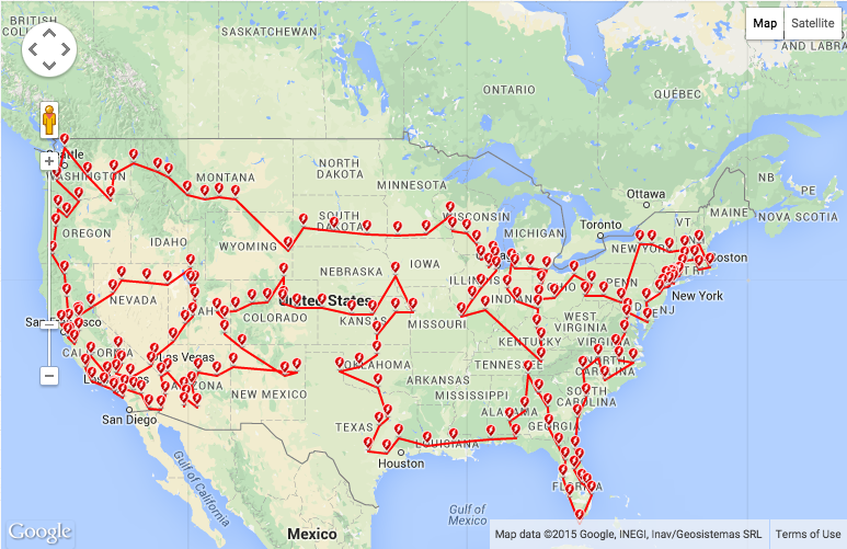 Perfect Tesla Supercharger Roadtrip 2015