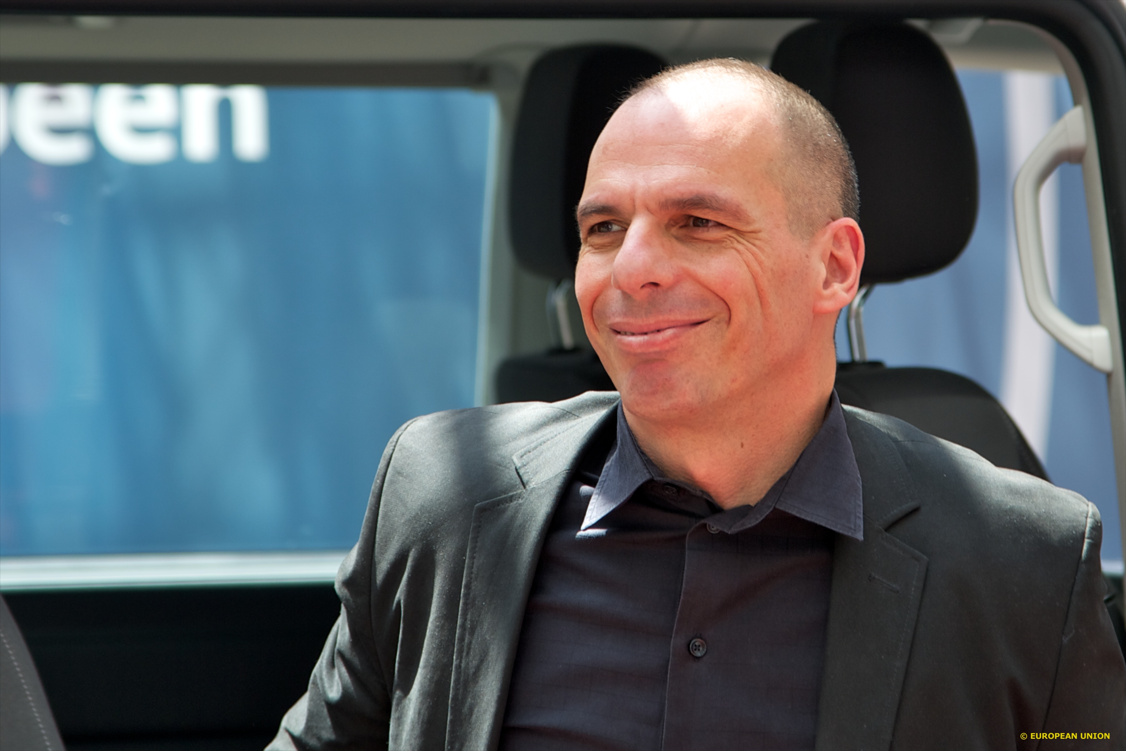 Greek finance minister Yanis Varoufakis arrives for Saturday's Eurogroup meeting.