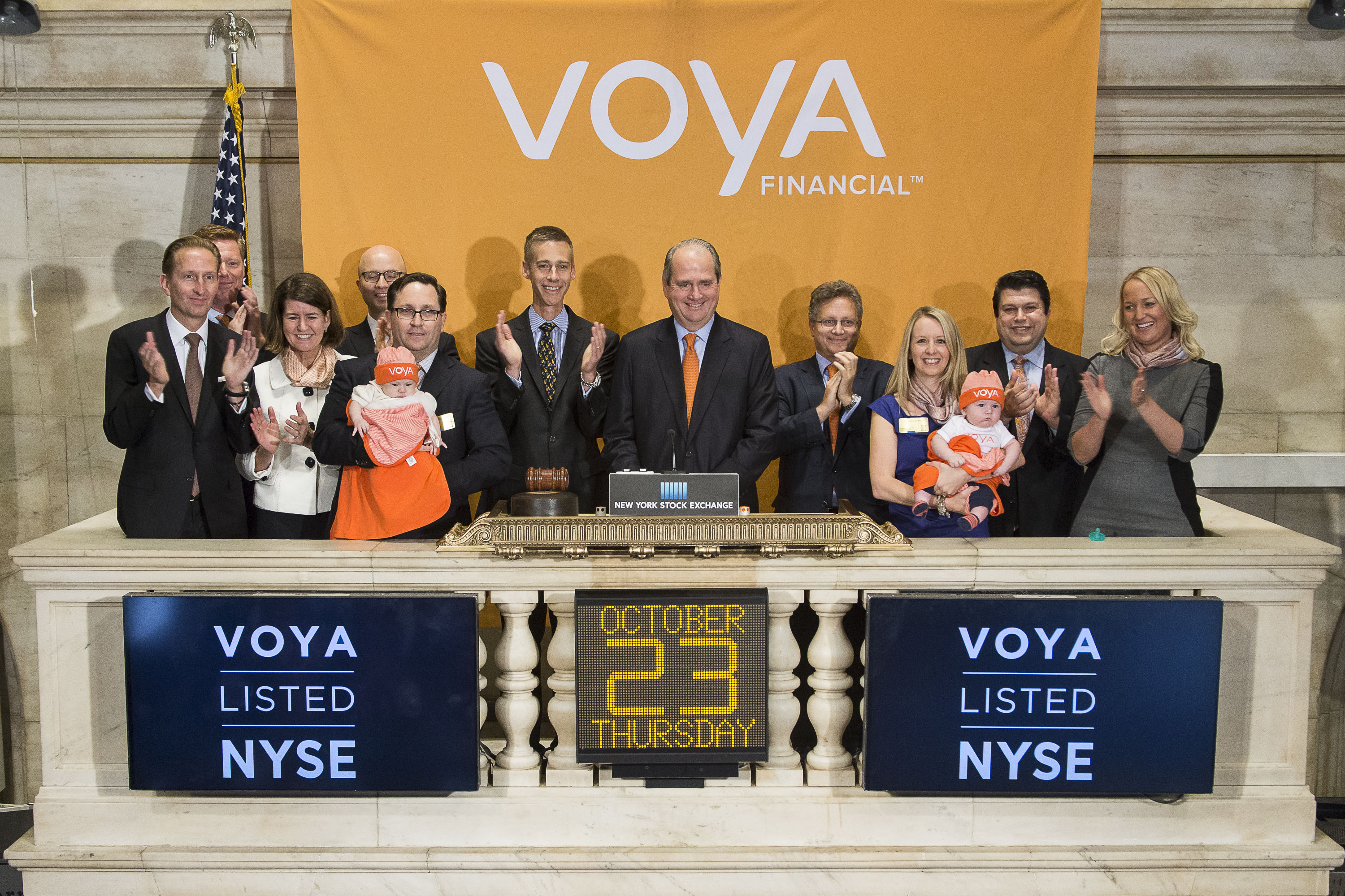 NEW YORK, NY - OCTOBER 23: Voya Financial Chairman and CEO Rodney O. Martin Jr. rings the NYSE Closing Bell® to highlight the Voya Born to Save program and celebrate the consumer launch of the Voya brand at The New York Stock Exchange on October 23rd, 2014 in New York City. Through the Voya Born to Save program, every baby born in the United States on October 20, 2014 is eligible to receive a $500 mutual fund investment from Voya Financial as a head start on their future retirement savings. (Photo by Josh Kuckens/NYSE)