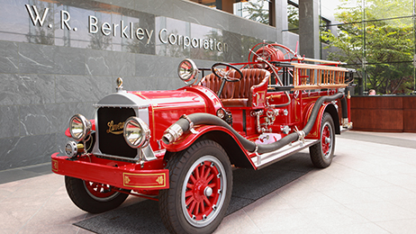 This 1923 fully restored Luverne fire engine in the WRBC lobby at headquarters in Greenwich, Connecticut.