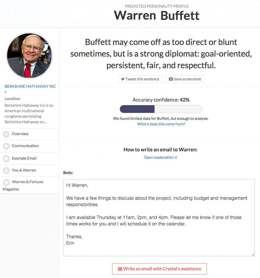Warren Buffett Crystal profile