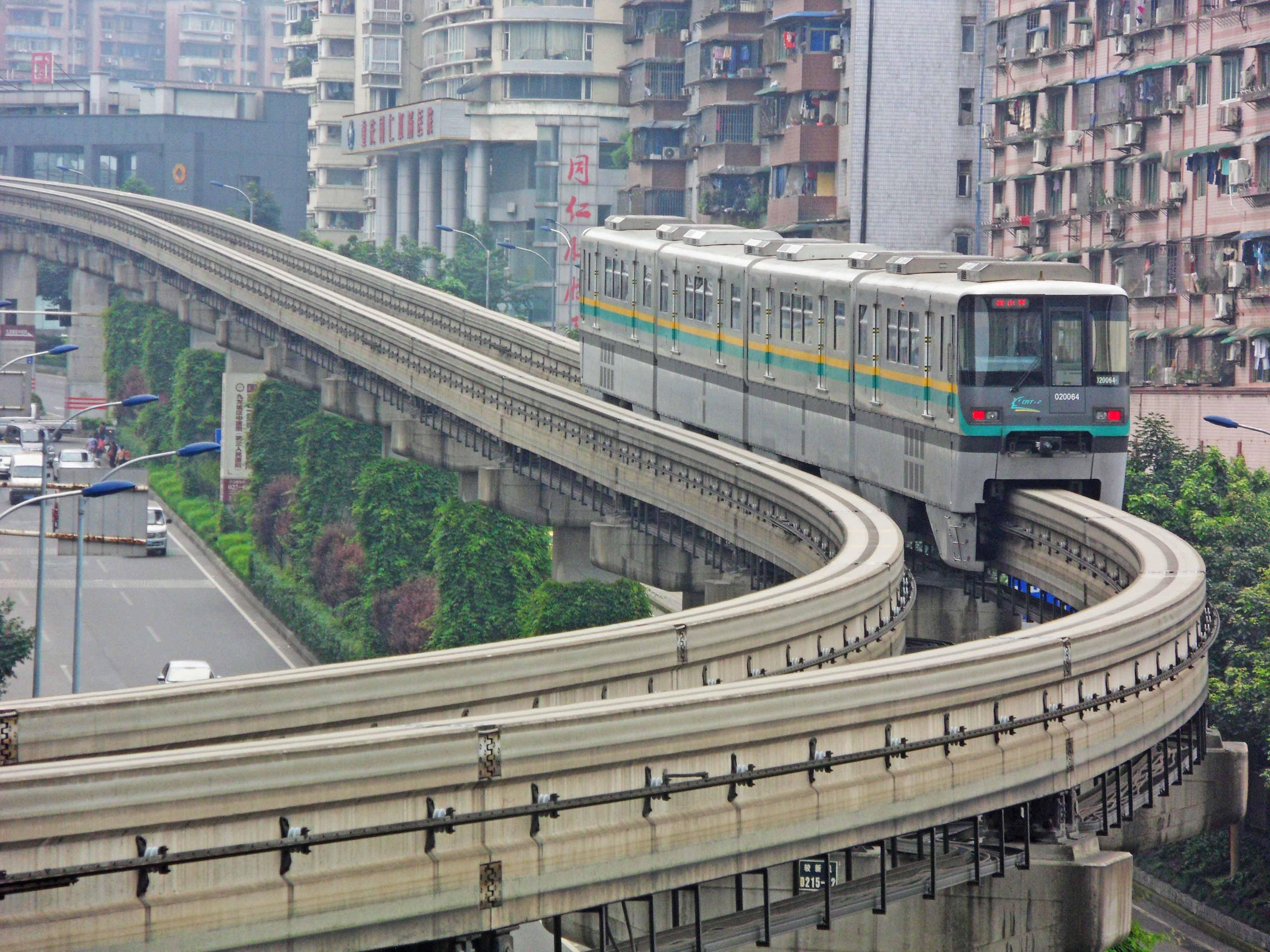 """90 Degree"" Light Rail Line In Chongqing"