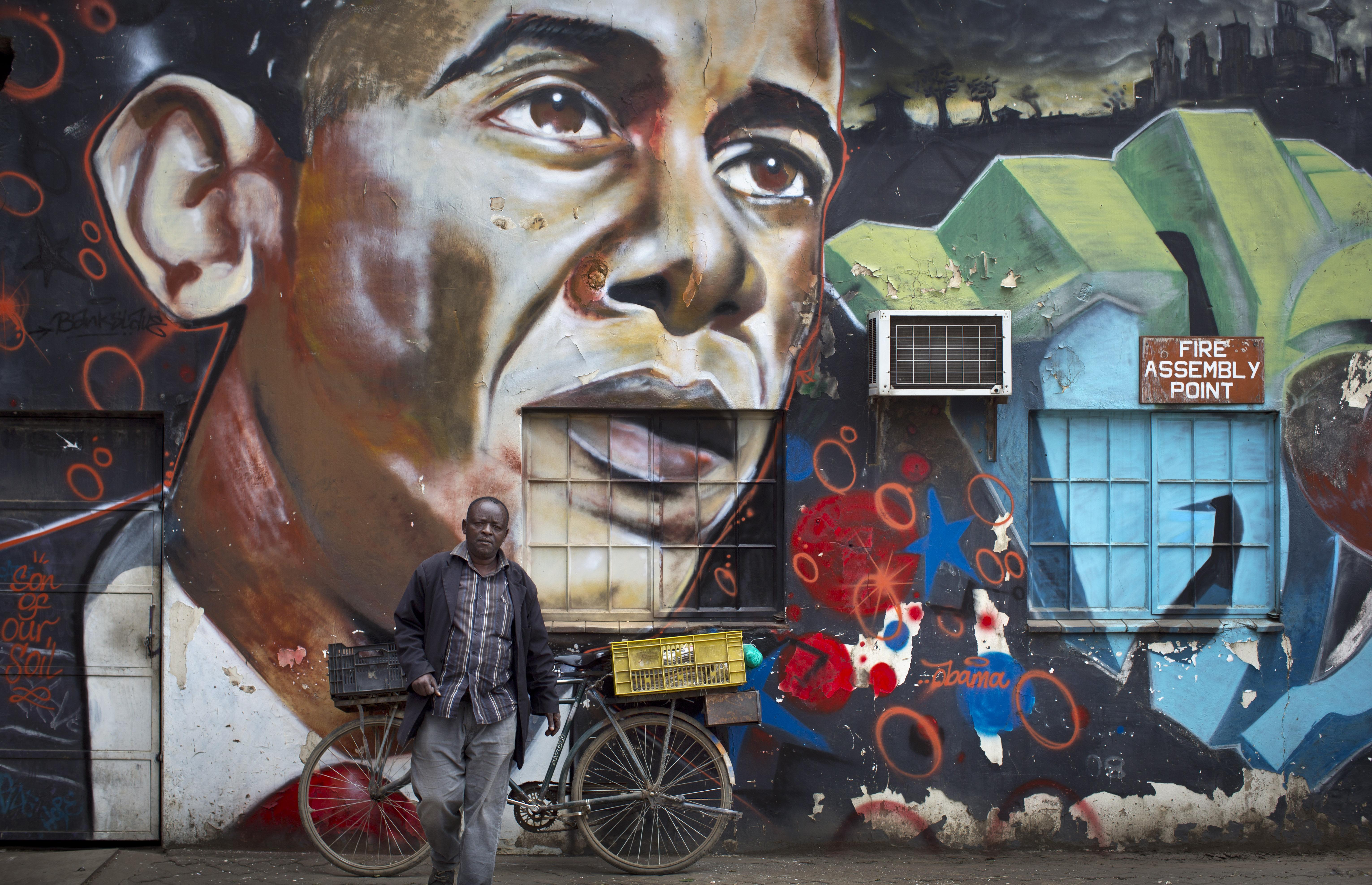 A mural of President Barack Obama at the GoDown Arts Centre in Nairobi, Kenya