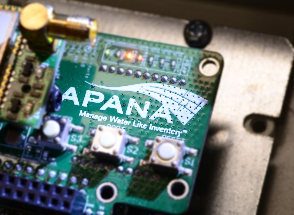 Startup Apana's sensor hardware system that it installs in buildings to conserve water.