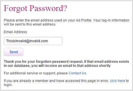 Ashley Madison - invalid password reset
