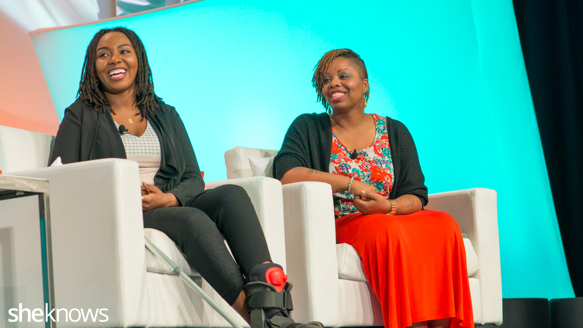 #BlackLivesMatter Blogher15 keynote, July 16, 2015.  Patrisse Cullors, Opal Tometi and Vanessa De Luca, Hilton Hotel, New York.   Photos By Tiffany Hagler-Geard/Sheknows