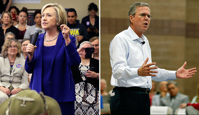 Hillary Clinton and Jeb Bush are having an early debate about the issues: on Twitter.