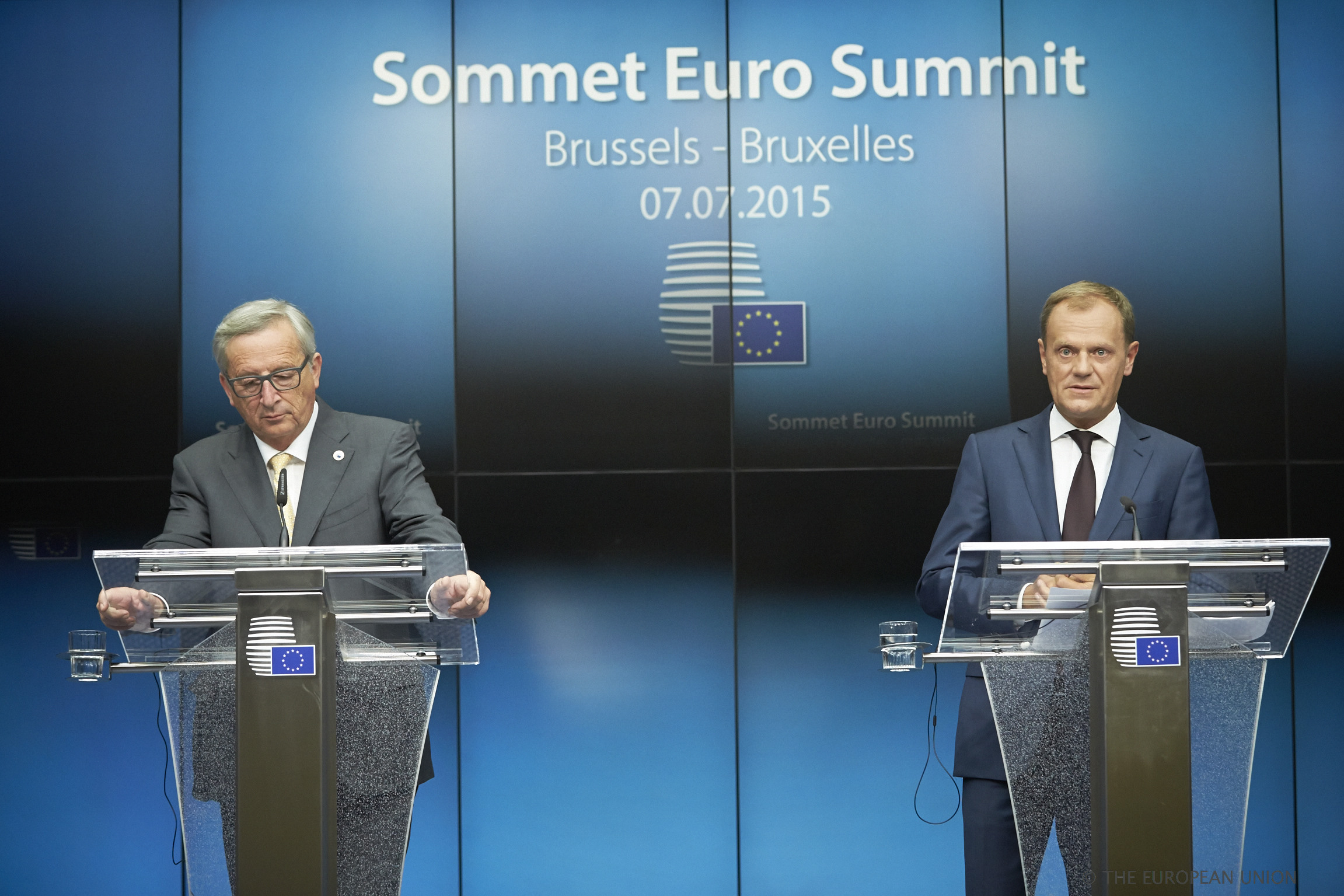 Juncker (l.) and Tusk warned that the day of reckoning for Greece would be on Sunday.