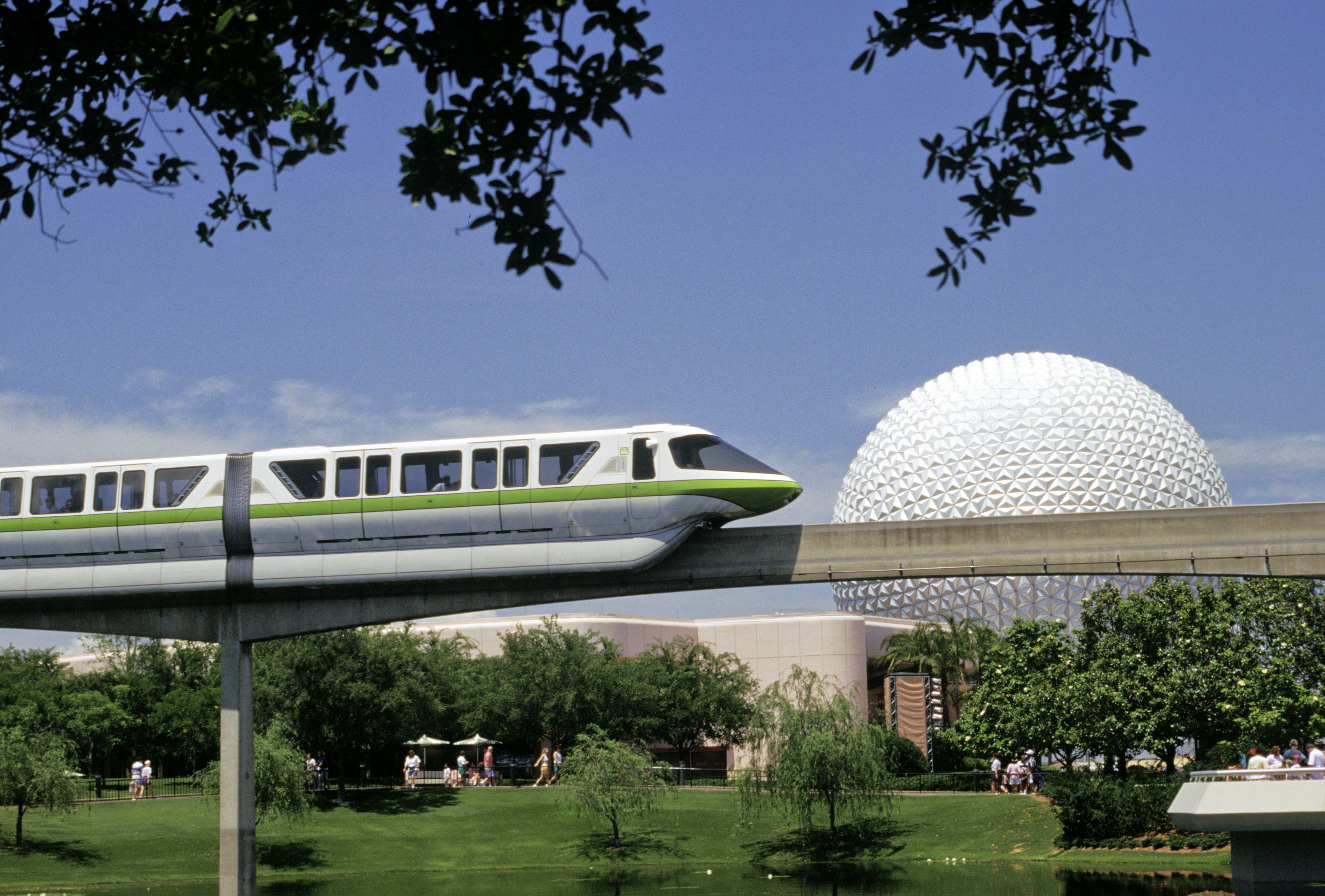 Florida, Orlando, Epcot Center, View Including Sphere And Monorail.