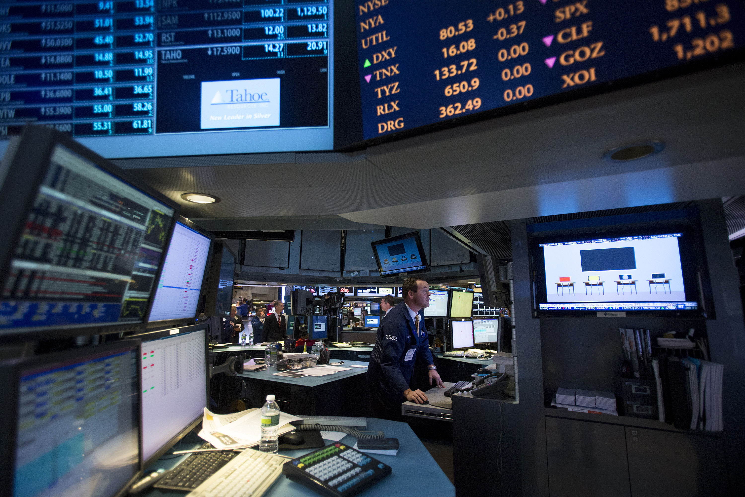 Inside The NYSE As Global Stocks Drop With Commodities on Fiscal Cliff Concern