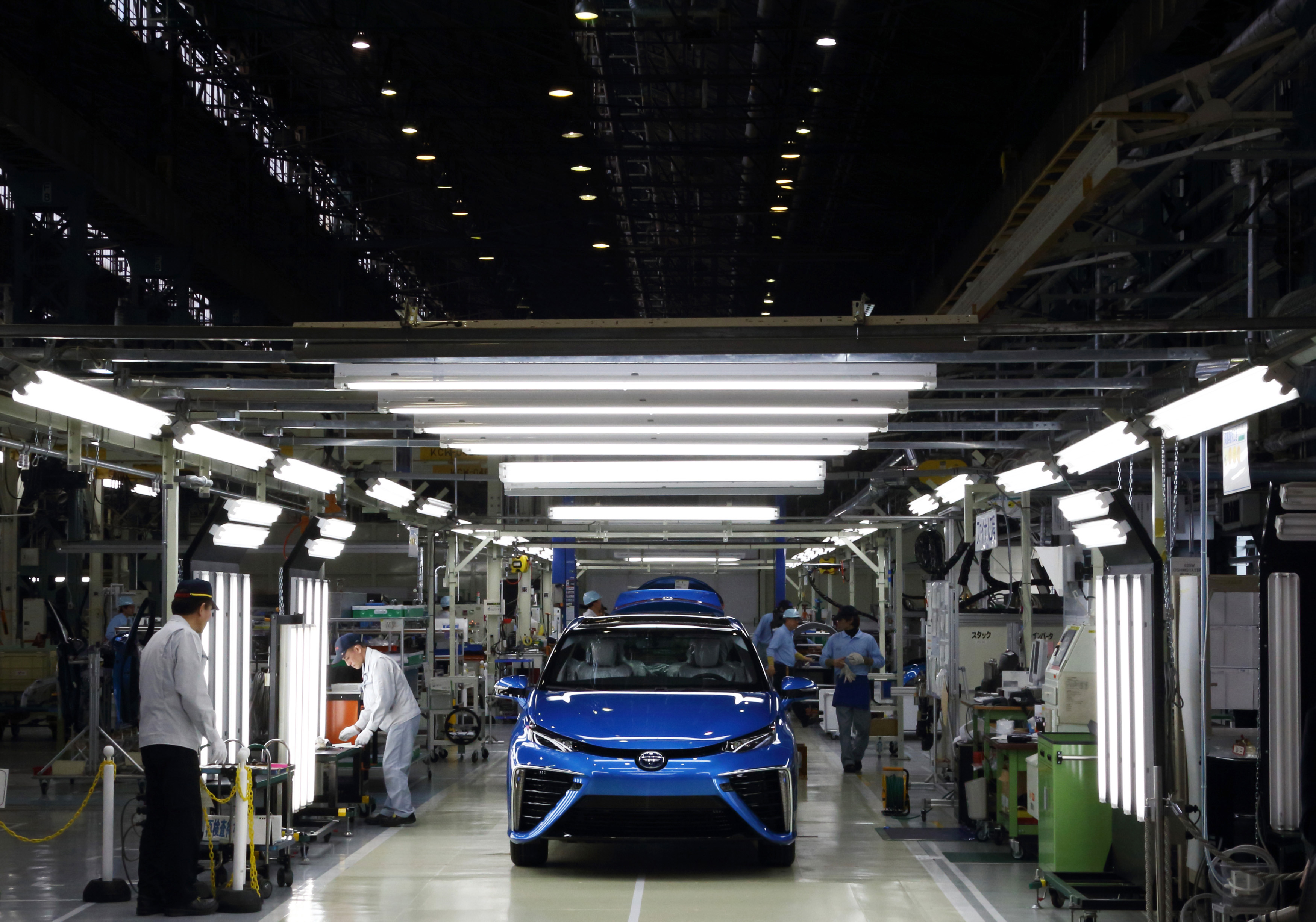 Toyota Motor Corp. President Akio Toyoda Attends Line Off Event For The Mirai Fuel Cell Vehicle