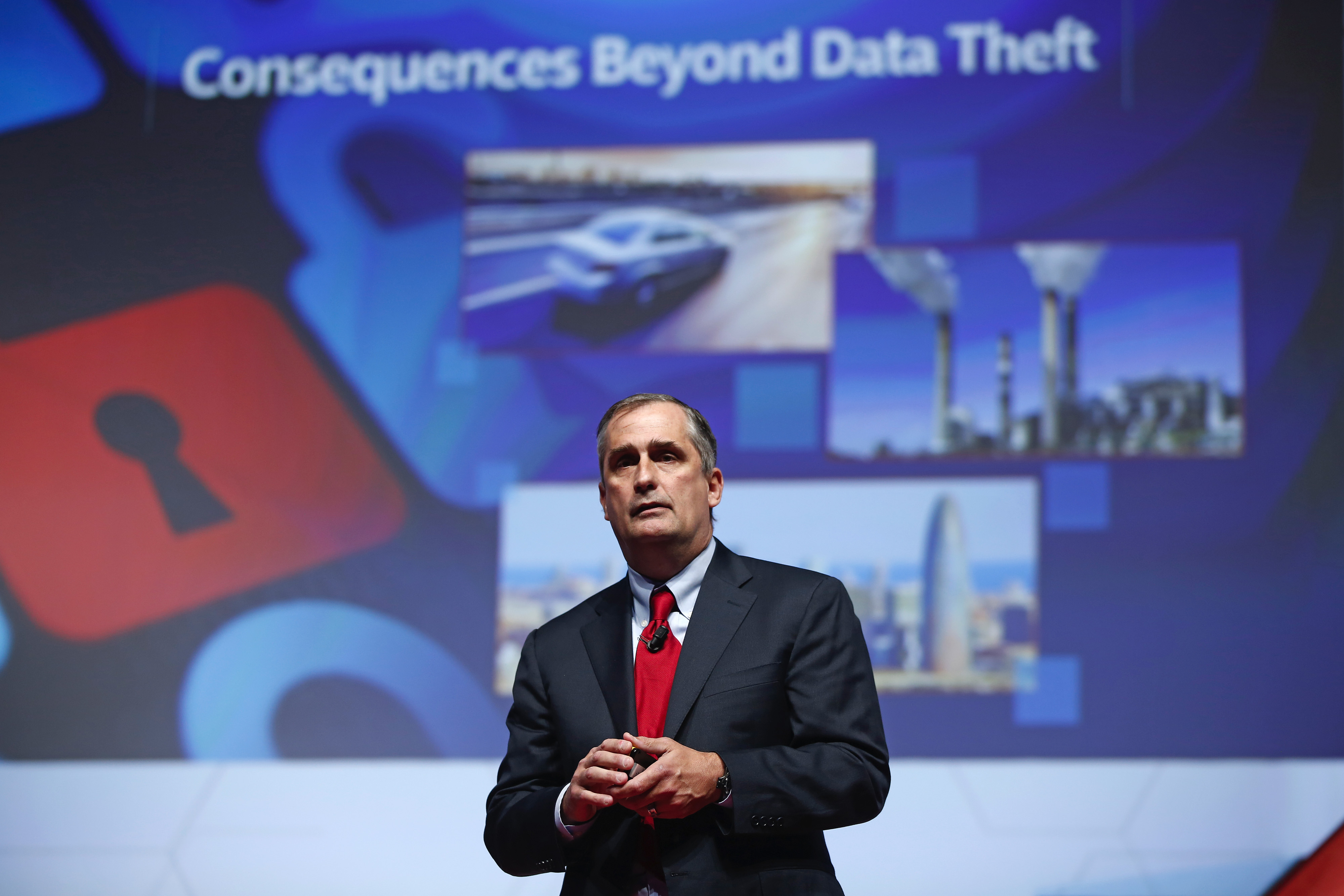 Brian Krzanich, chief executive officer of Intel Corp., speaks during a keynote session at the Mobile World Congress in Barcelona, Spain, on Wednesday, March 4, 2015. The event, which generates several hundred million euros in revenue for the city of Barcelona each year, also means the world for a week turns its attention back to Europe for the latest in technology, despite a lagging ecosystem. Photographer: Simon Dawson/Bloomberg *** Local Caption *** Brian Krzanich
