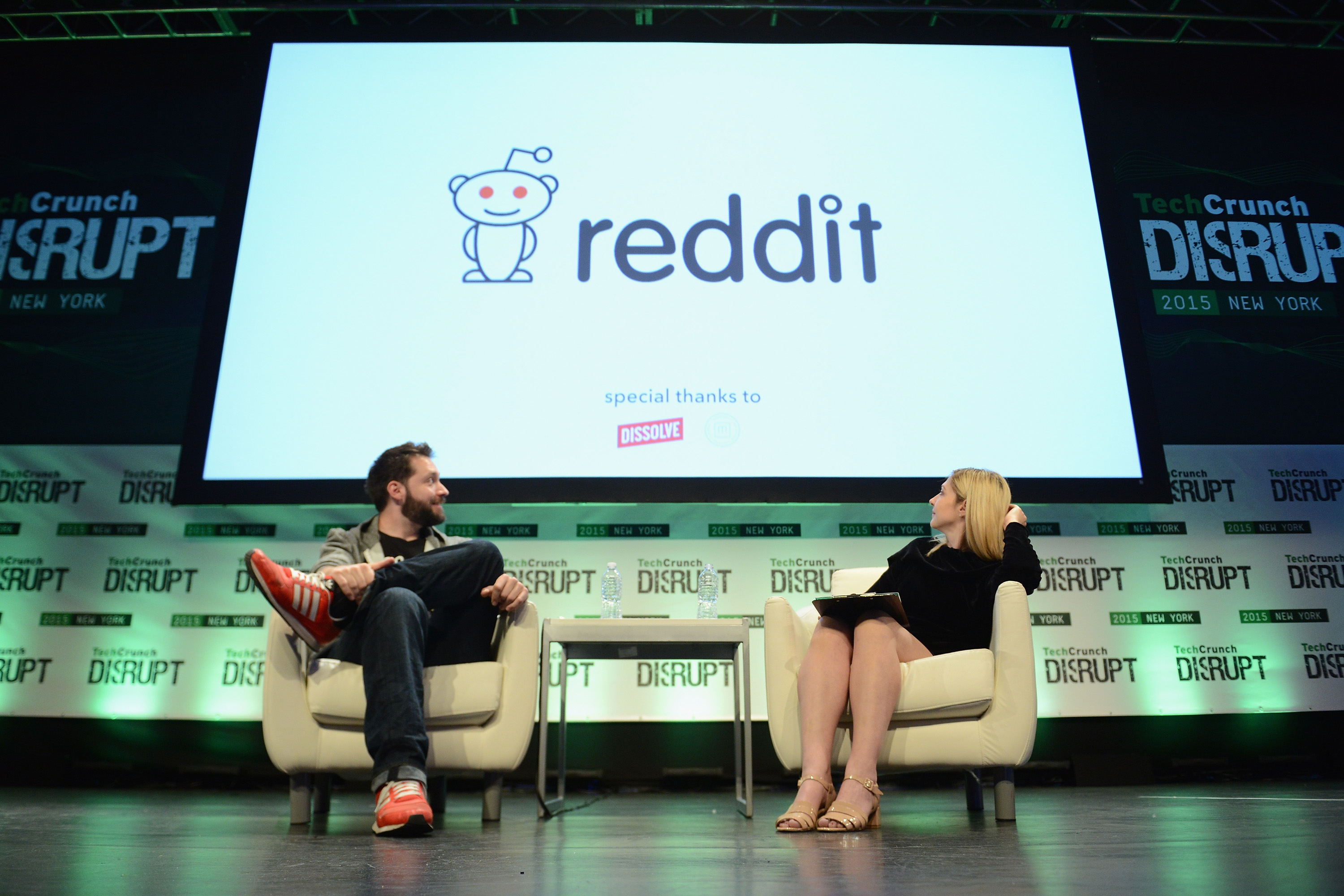 Reddit co-founder Alexis Ohanian (left) speaks onstage during TechCrunch Disrupt NY 2015.