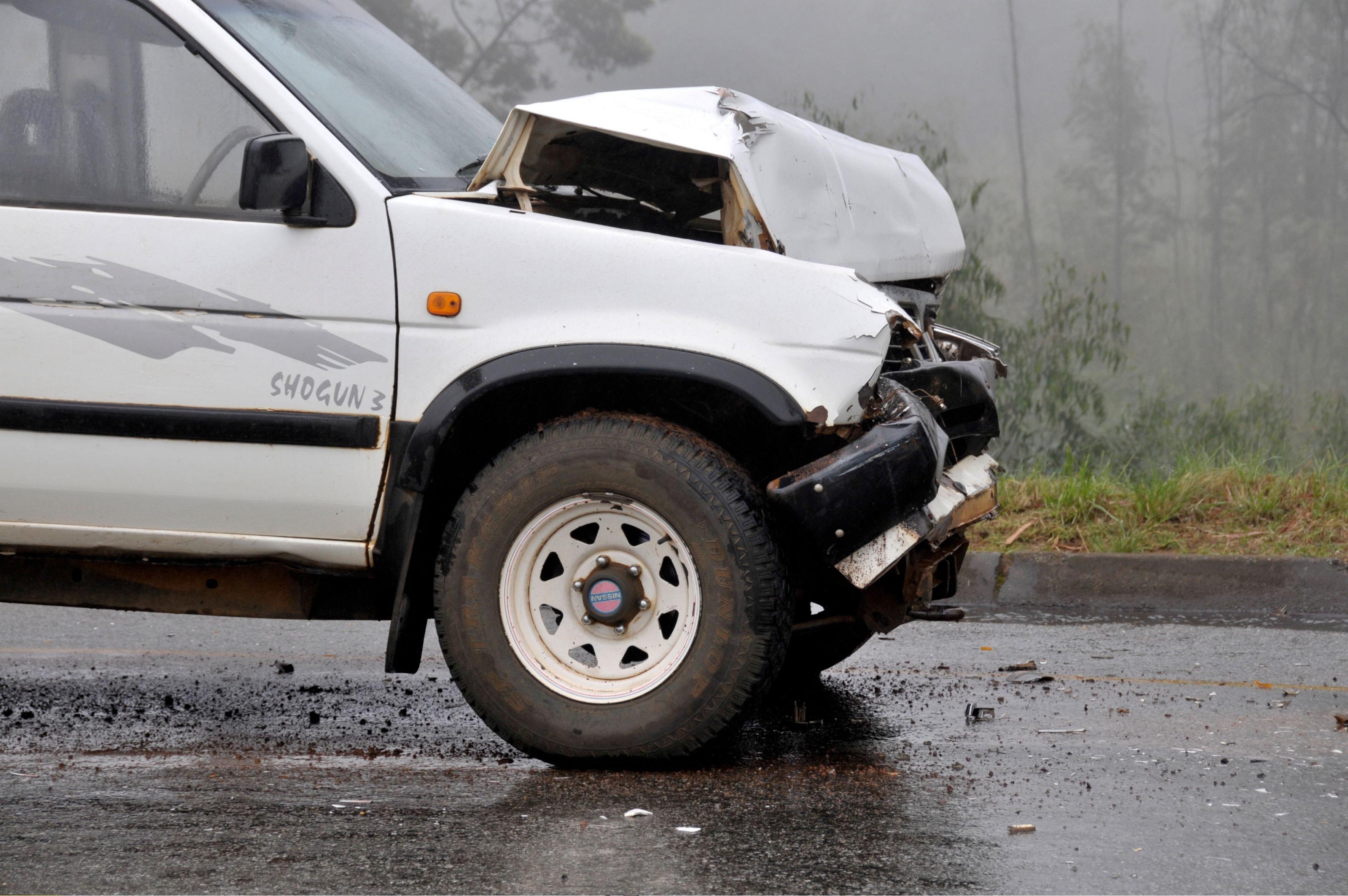 Swaziland - : car accident, damaged SUV rental car