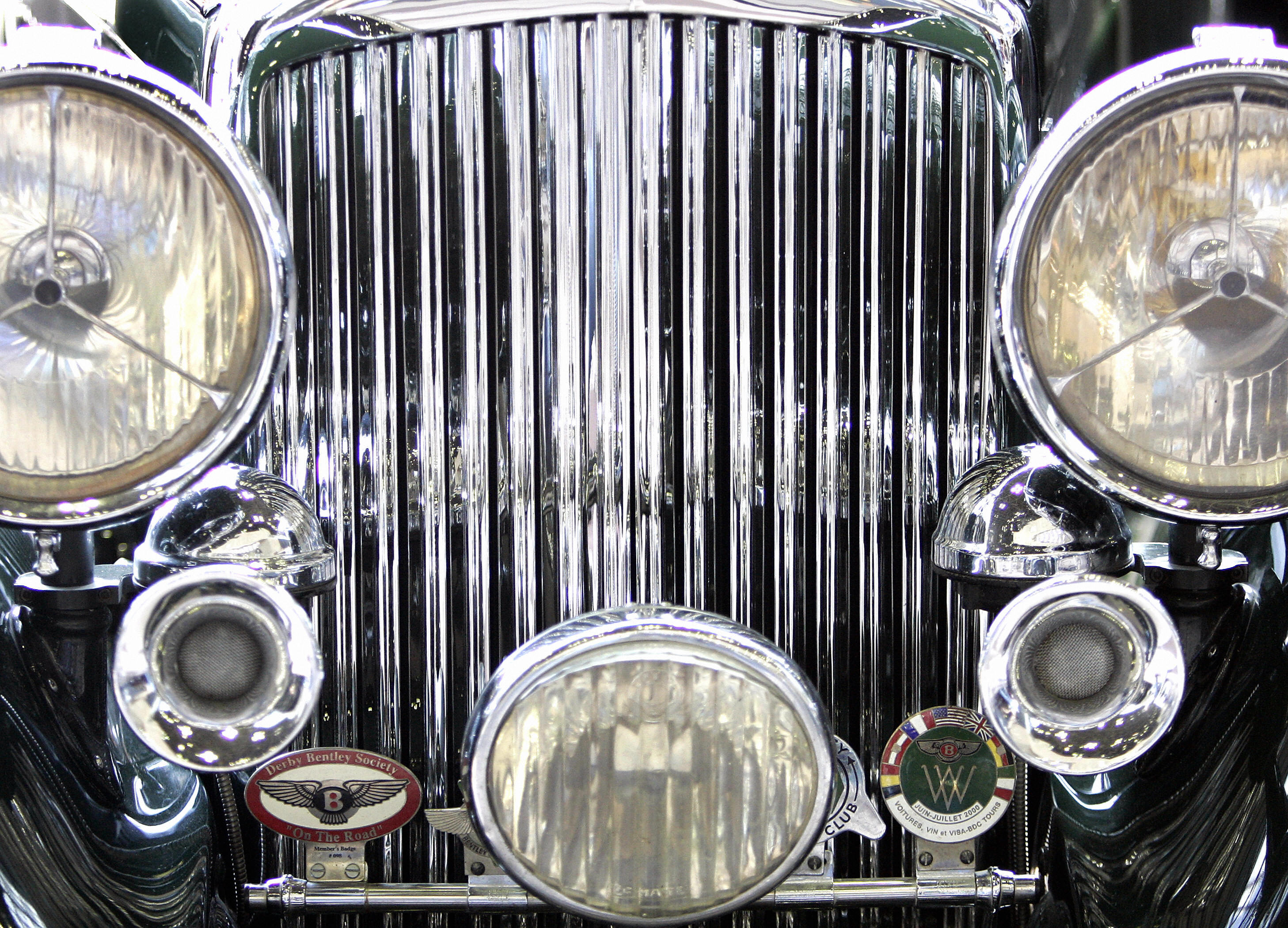 The front grill of a vintage Bentley is