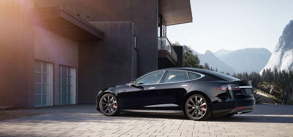 Tesla Model S sedan garage
