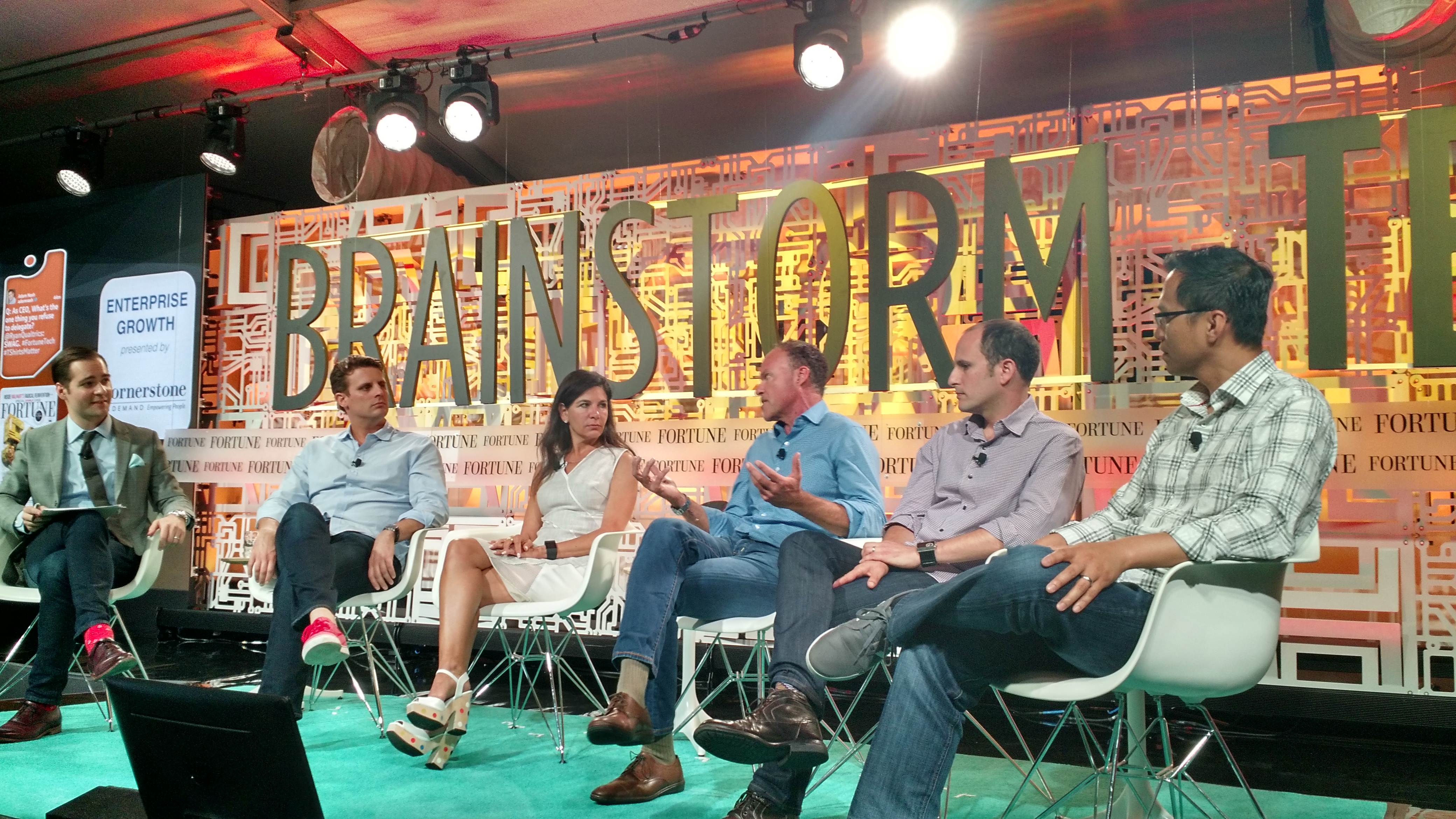 Andrew Nusca, Fortune; Michael Dubin, CEO, Dollar Shave Club; Beth Ann Kaminkow, CMO, Westfield; Brian Sharples, Chairman and CEO, HomeAway; Jared Simon, Co-founder, HotelTonight; Tri Tran, CEO, Munchery (from left to right)