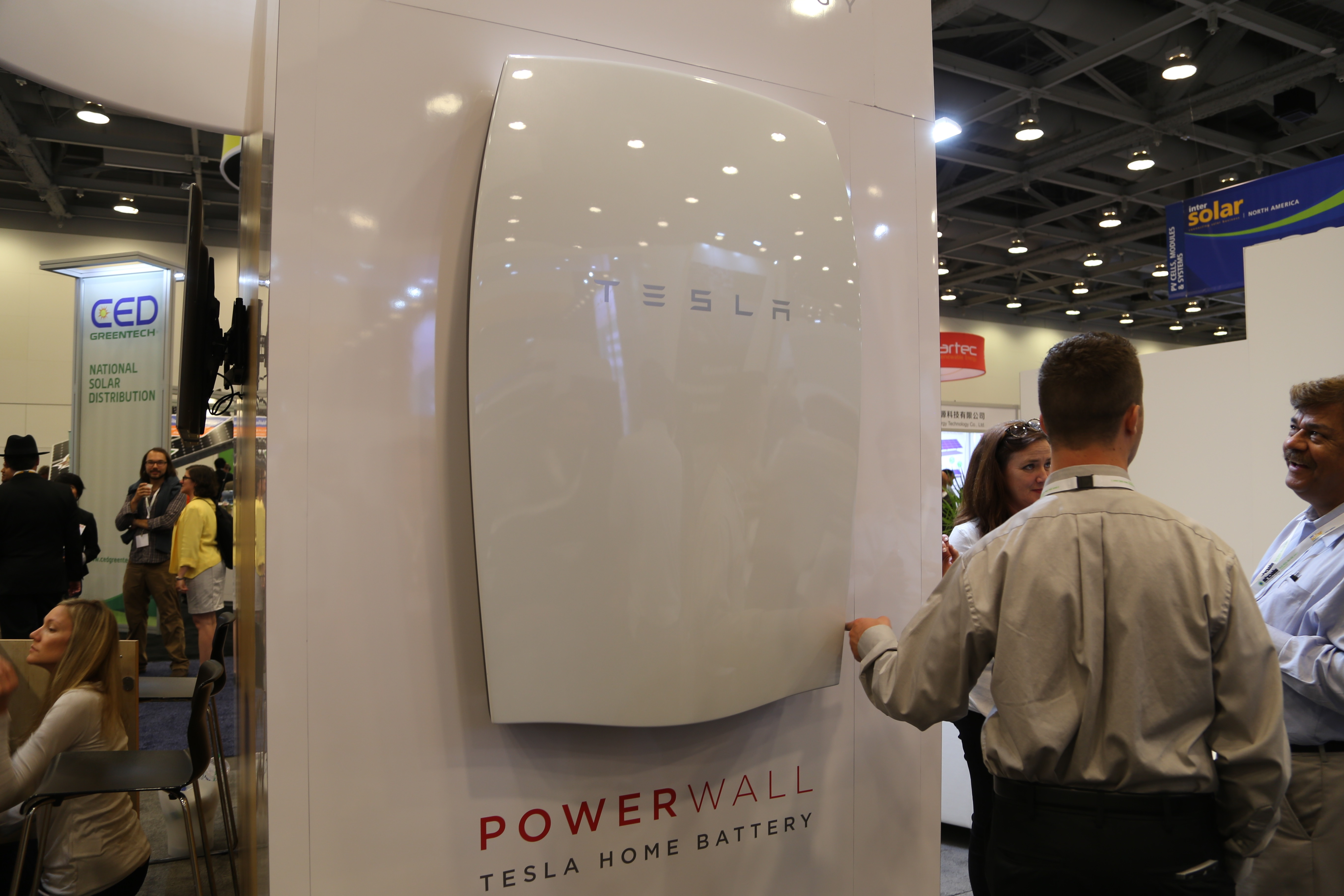 A Tesla Powerwall on display at Intersolar 2015.
