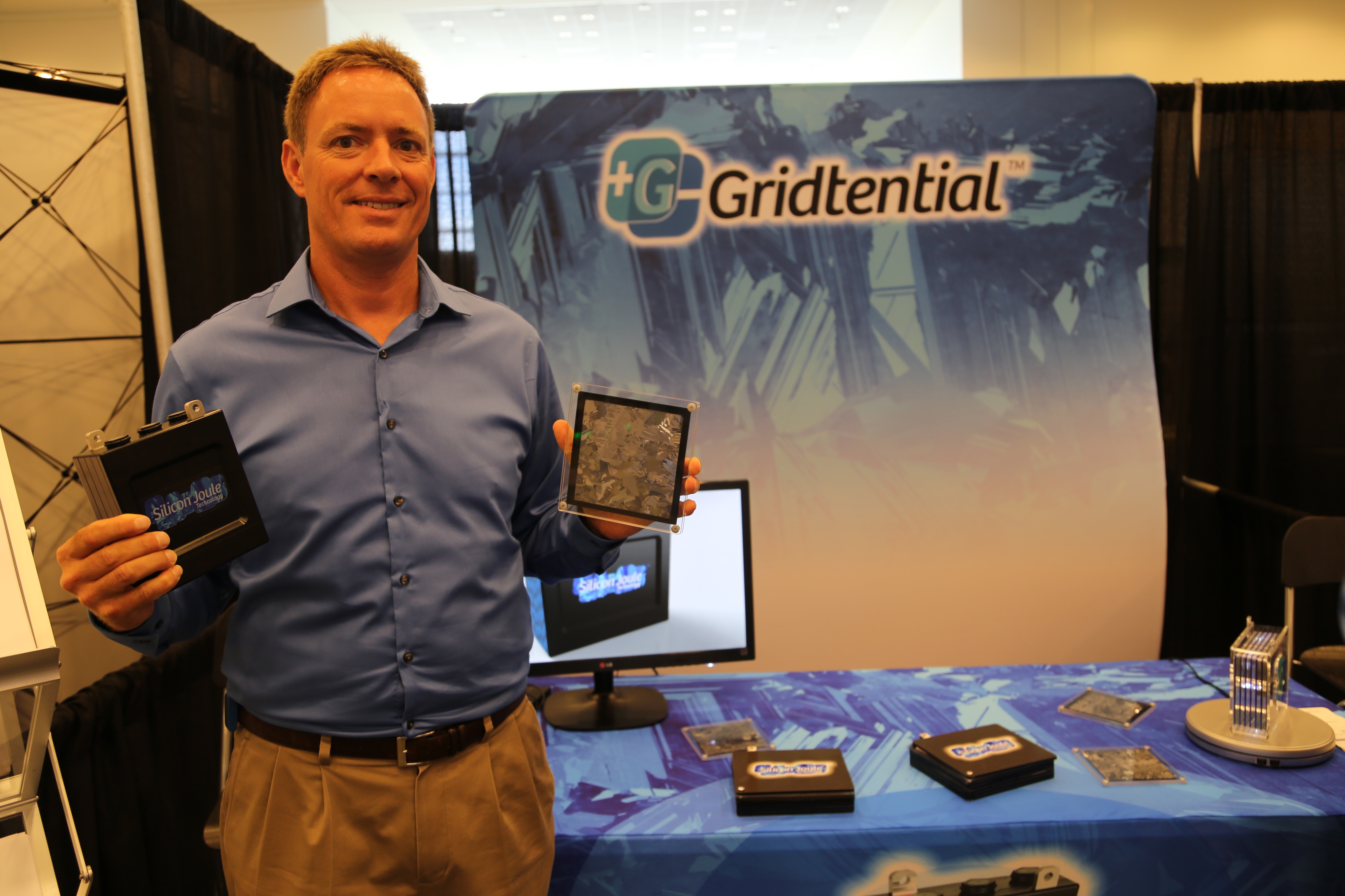 The CEO of startup Gridtential, Christiaan Beekhuis, holds an early prototype of the company's next-gen lead acid battery at Intersolar 2015.