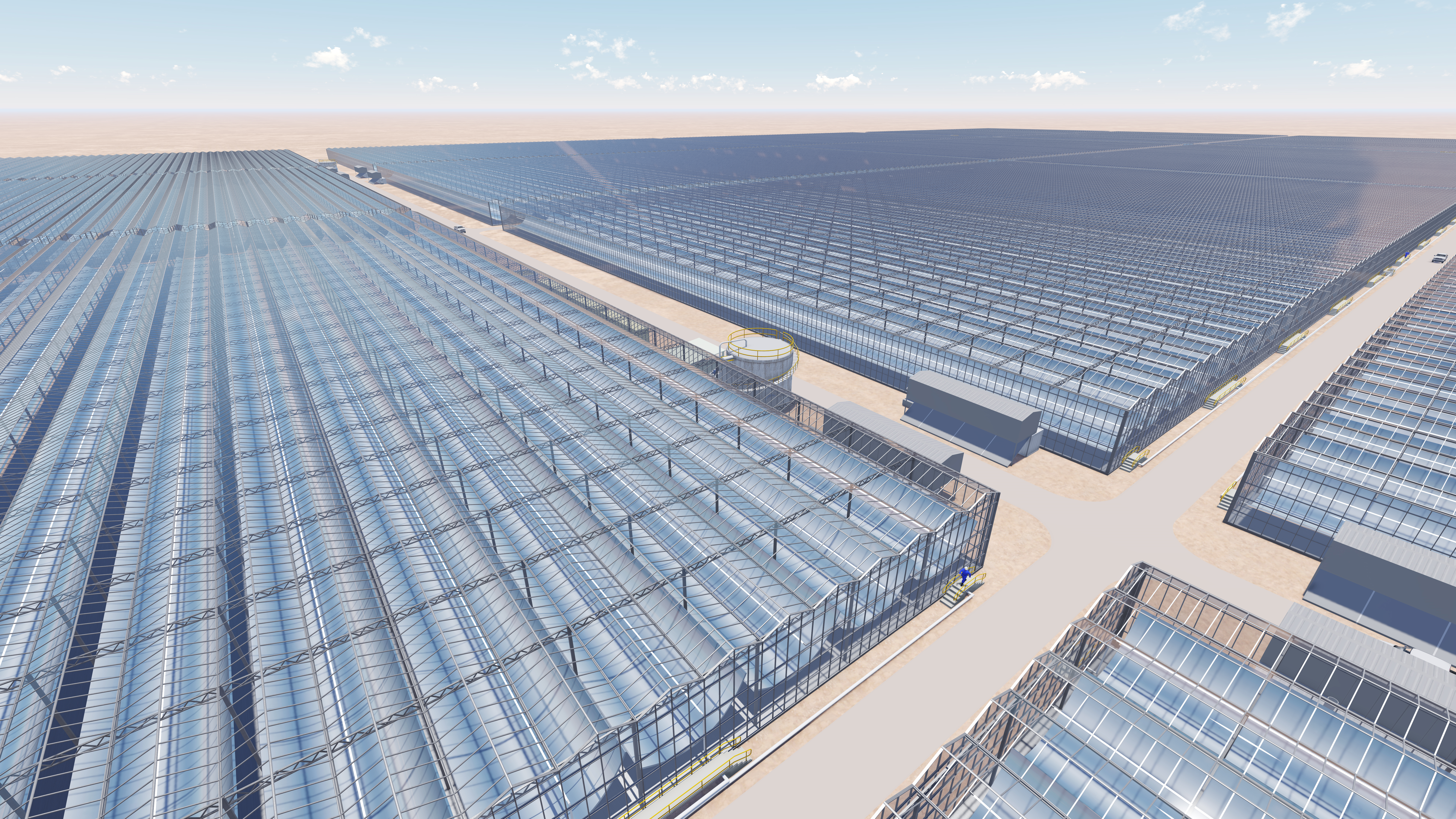 A rendering of a solar farm that will be built in Oman and used to recover oil.