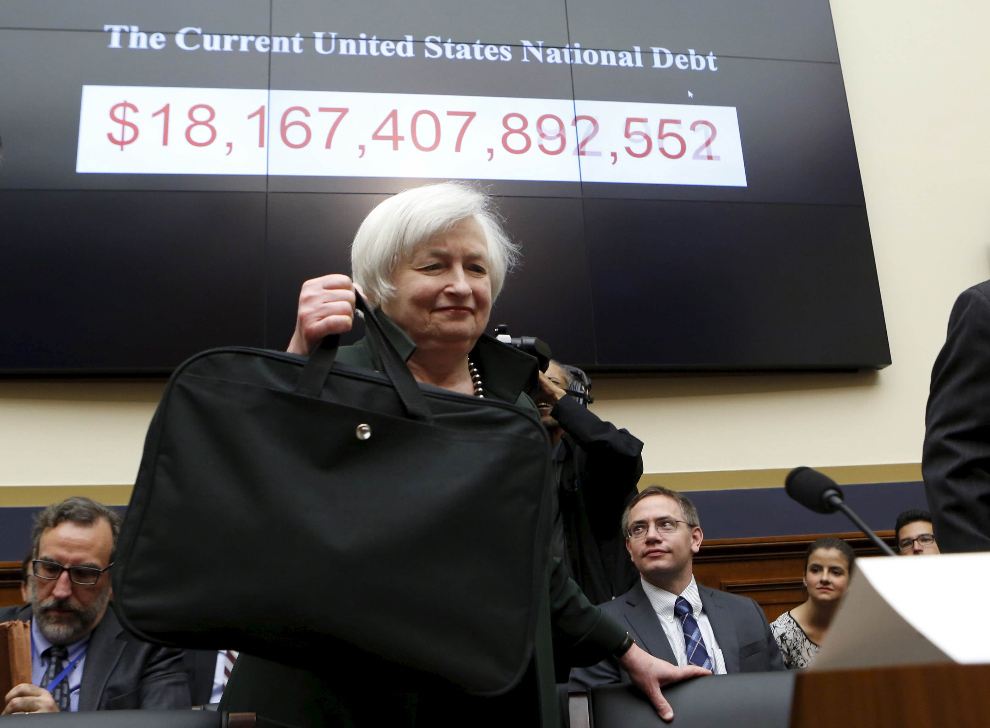 Federal Reserve Board Chairwoman Janet Yellen arrives to testify before a House Financial Services committee hearing