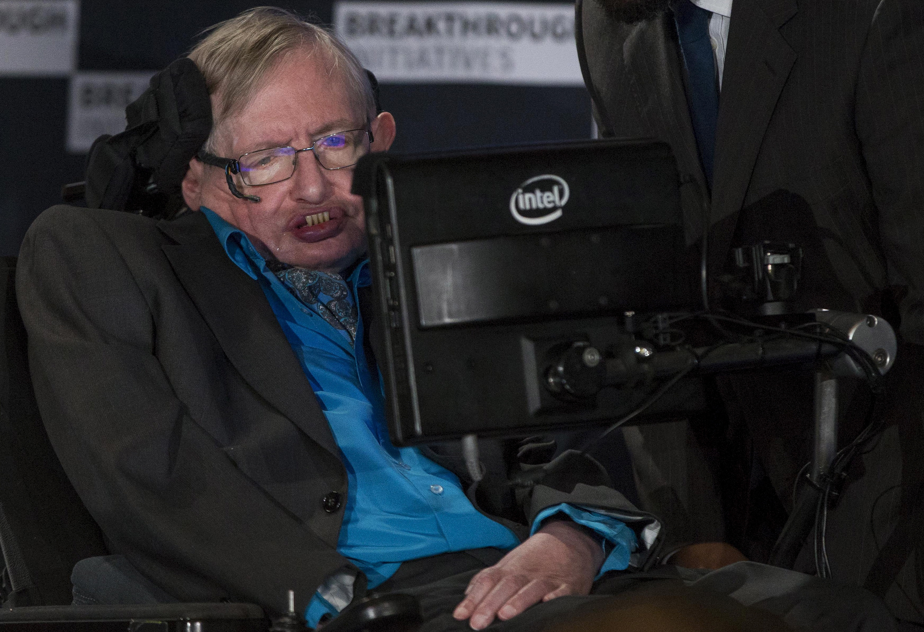 Professor Hawking speaks at a media event to launch a global science initiative at The Royal Society in London