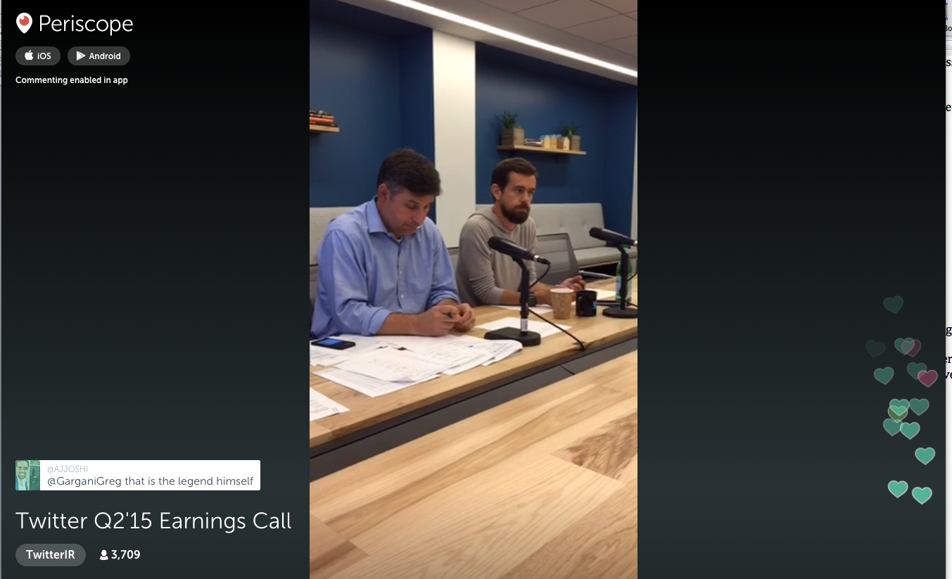 CFO Anthony Noto and Interim CEO Jack Dorsey conduct Twitter's second quarter earnings call on Periscope.