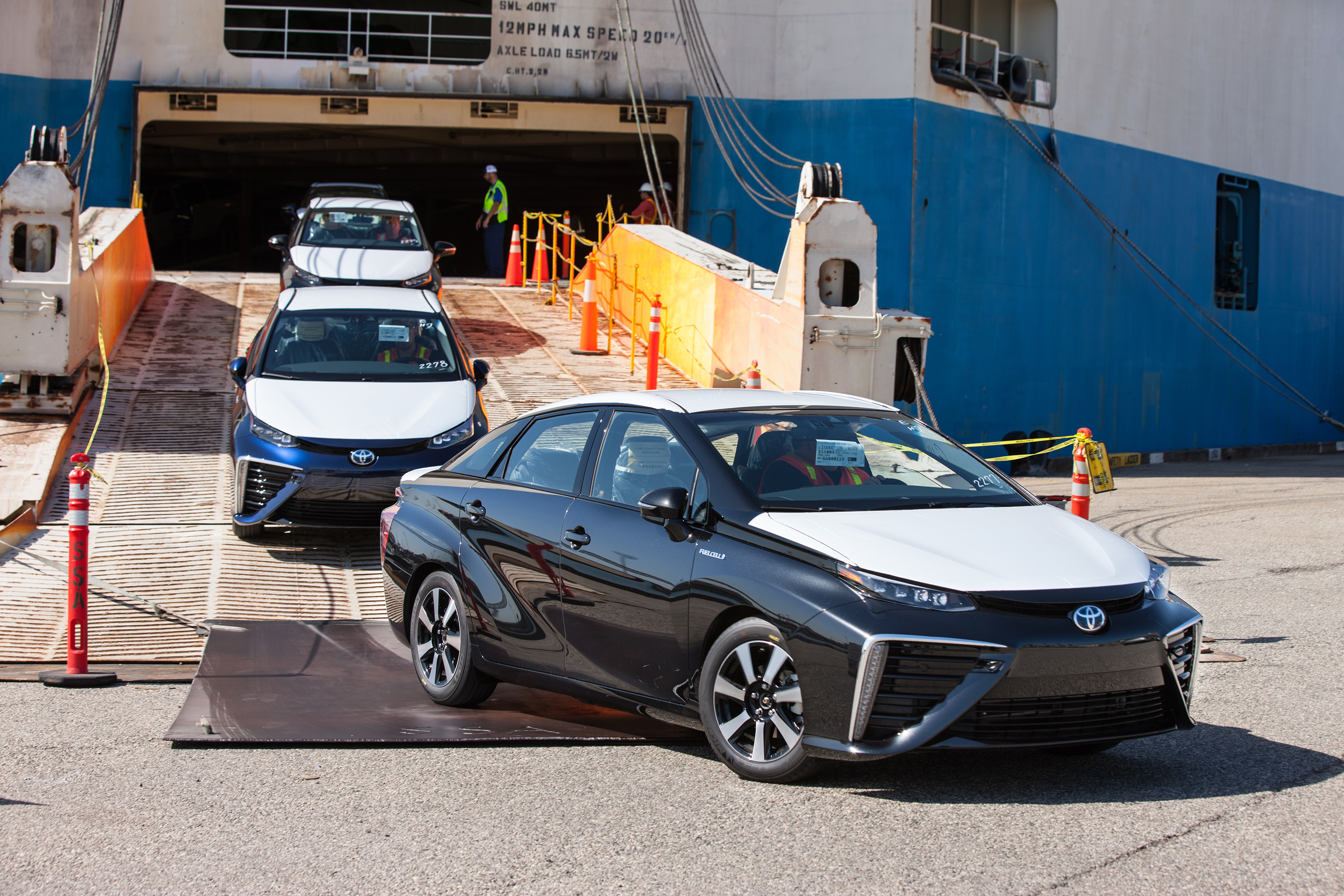 The 2016 Toyota Mirai hydrogen fuel cell car is entering the U.S. market.