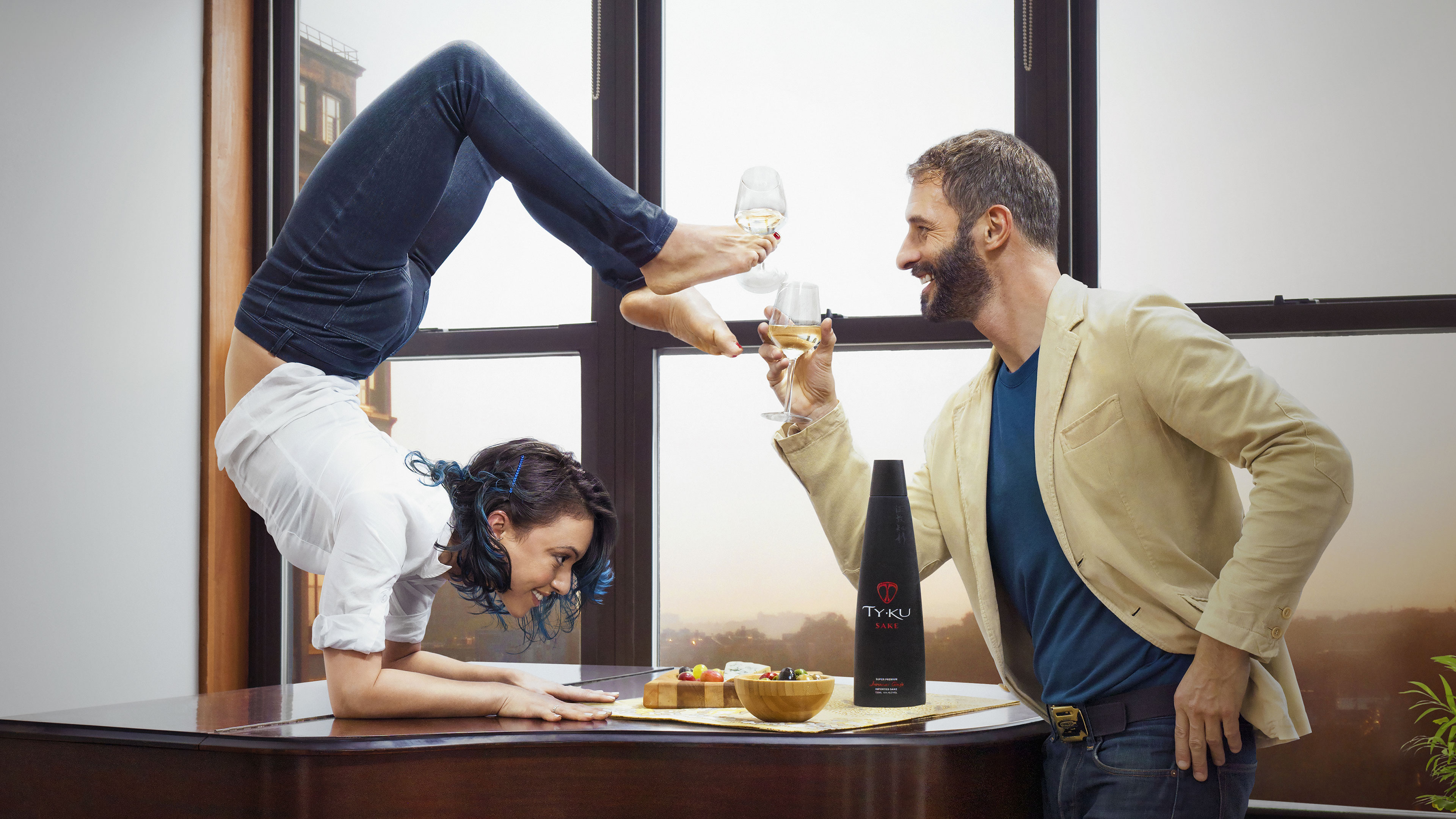 An advertisement for TY KU sake. The company says research shows yogis are more likely to drink alcohol than the broader population.