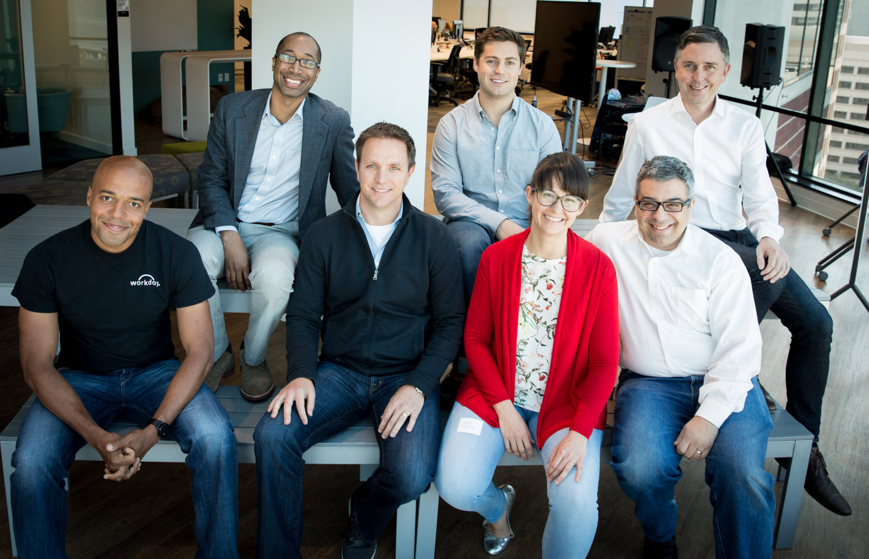 BACK ROW (l-r): Tony Gauda, CEO of ThinAir; TJ Nahigian, CEO of Jobr; David Clarke, senior vice president of Technology Development, Workday  FRONT ROW (l-r): Adeyemi Ajao, vice president of Technology Product Strategy, Workday; Dan Beck, senior vice president of Product Marketing and Technology Strategy, Workday; Sofia Pessanha, CMO and co-founder of Unbabel; Theo Vassilakis, CEO of Metanautix