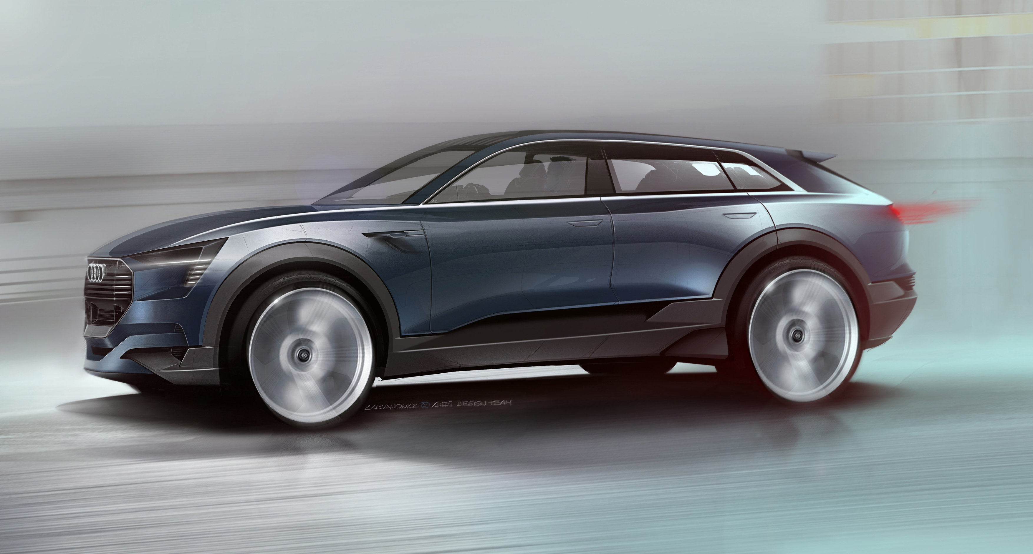 The Audi e-tron quattro concept is an electric car set to debut next month at the International Motor Show 2015 in Frankfurt.