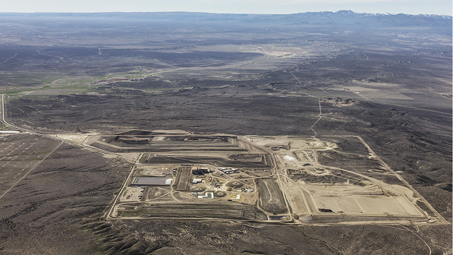 Aerial view of US Ecology's hazardous waste treatment, storage, and disposal facility in Grand View, Idaho.
