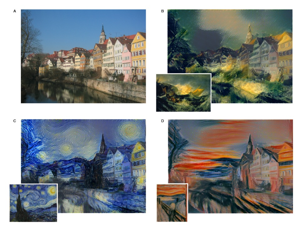 A photo of the Neckarfront in Tubingen, Germany is shown ¨ in the style of B. J.M.W. Turner,  C. Vincent van Gogh, D. Edvard Munch.