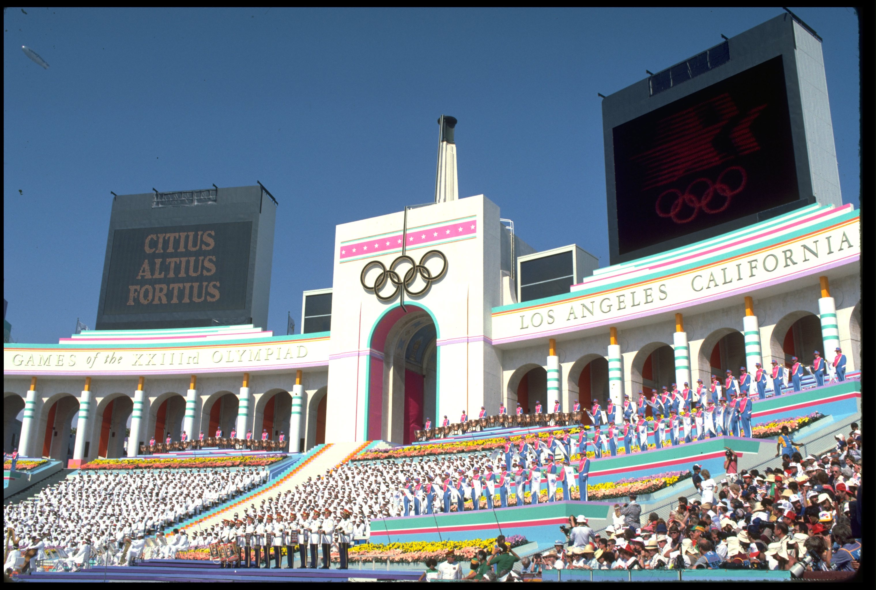 The opening ceremony of the 1984 Summer Olympics at the Coliseum in Los Angeles, Calif.
