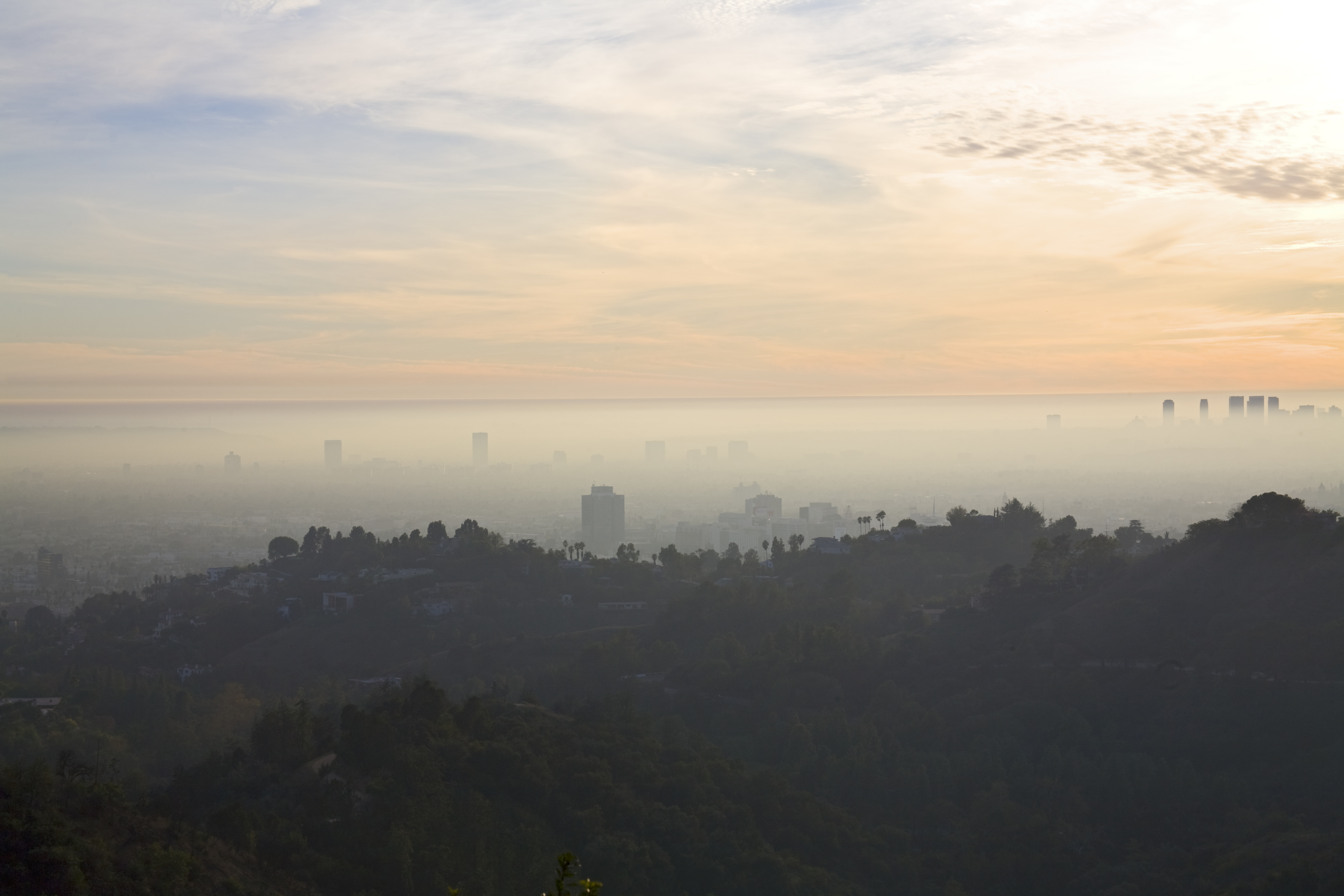 Hollywood Hills with Smog and Fog