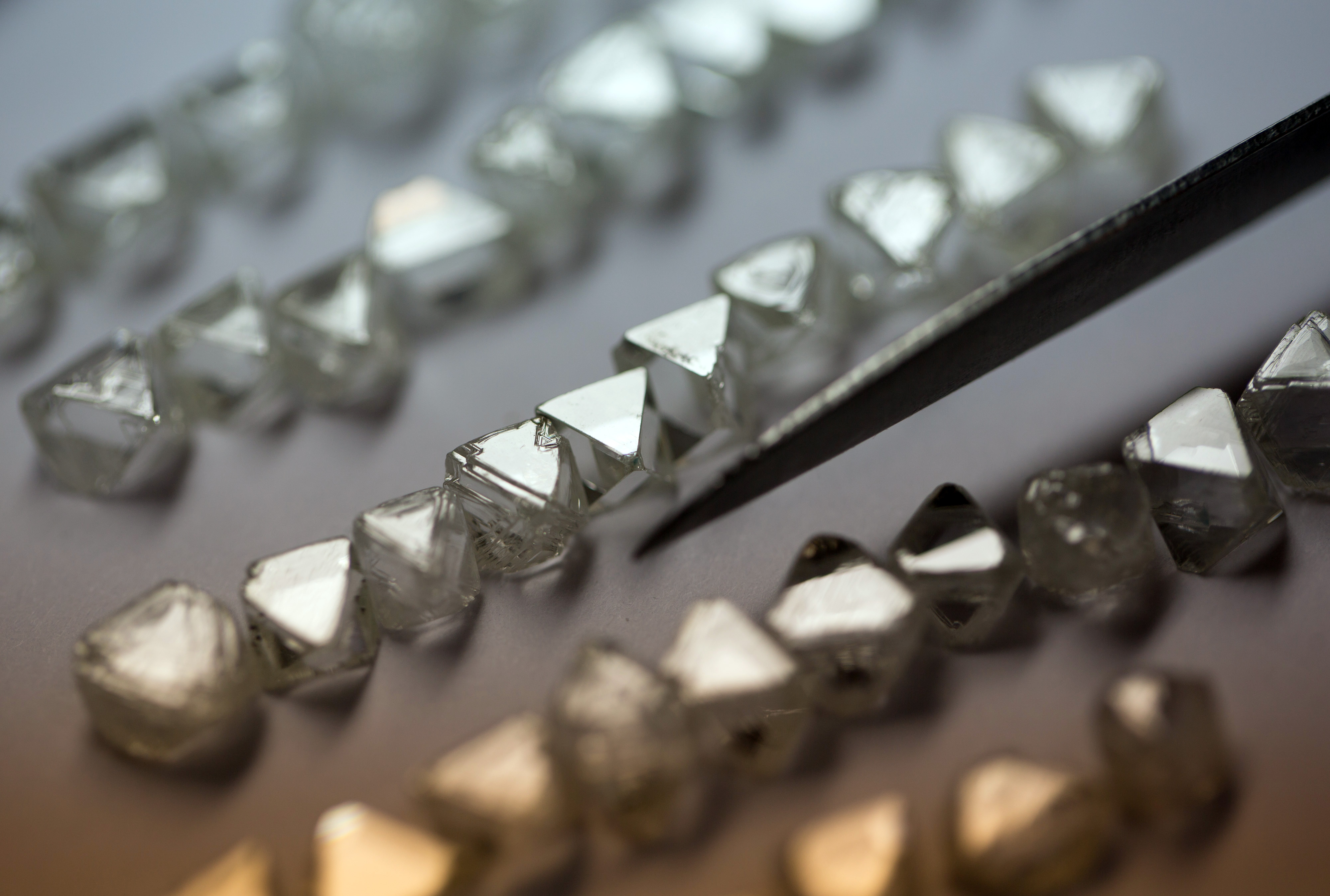 A collection of natural diamonds are seen laid in rows on a