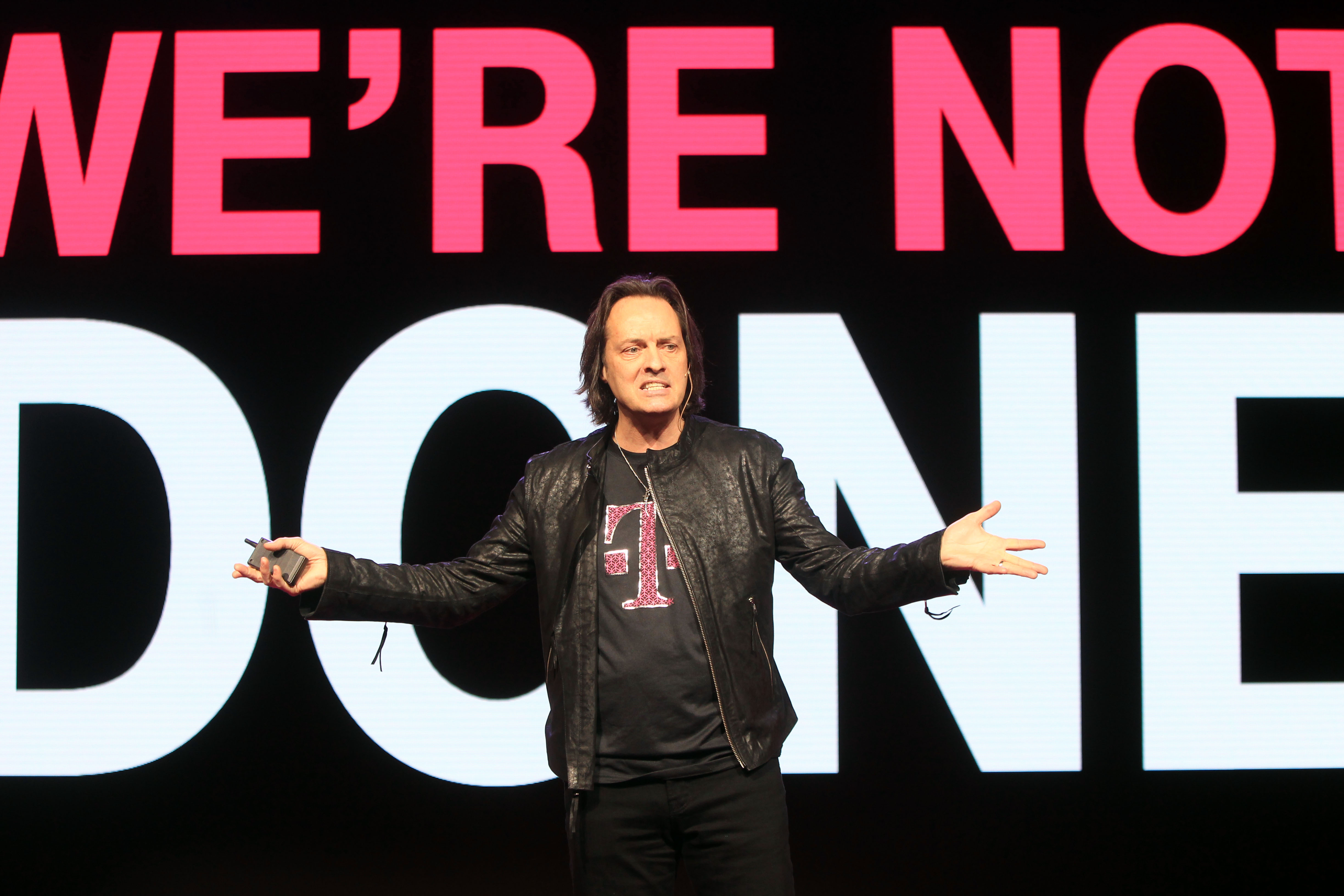 John Legere, CEO of T-Mobile, at a press conference on March 18, 2015 in New York City.