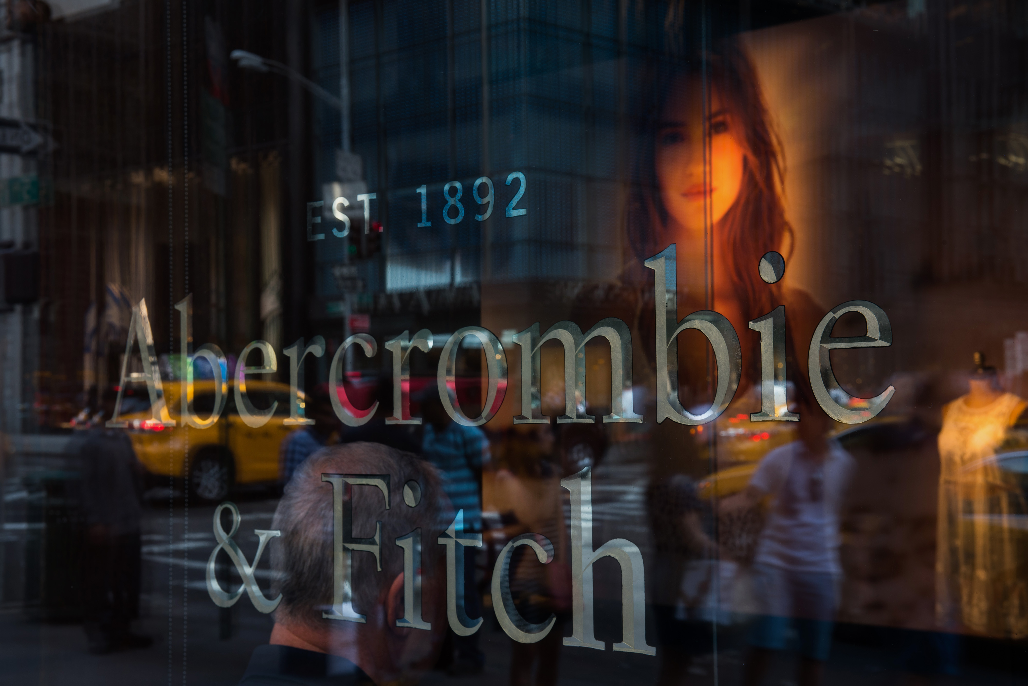 Abercrombie and Fitch's Manhattan flagship store on 5th Avenue in New York, U.S., on Tuesday, May 26, 2015.  Photographer: Craig Warga/Bloomberg *** Local Caption ***