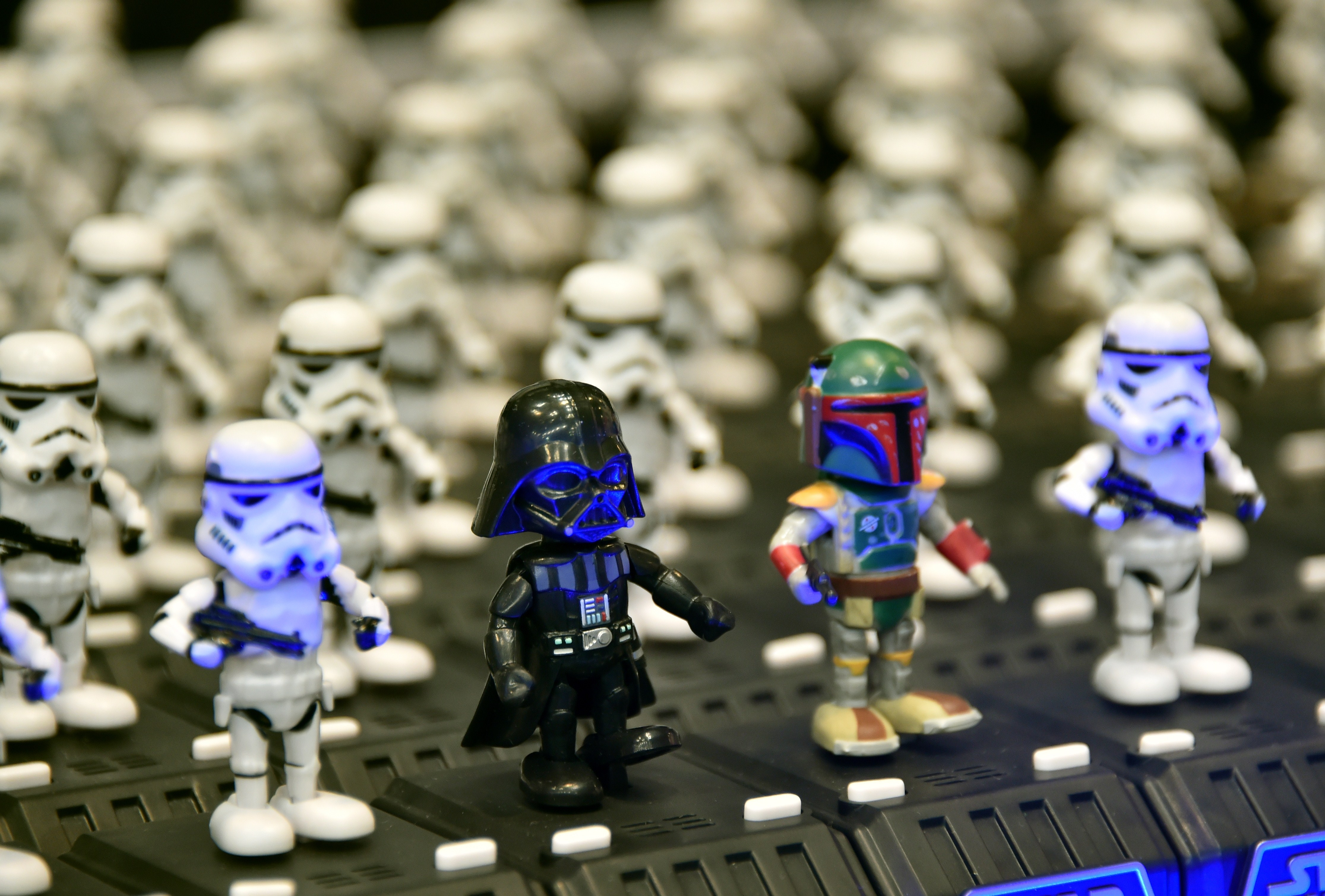 """Dancing figurine toy characters of """"Star Wars Space Opera"""", produced by Japanese toy maker Tomy are displayed at the annual Tokyo Toy Show in Tokyo on June 18, 2015. Disney will be launching the new line of Star Wars toys in a global toy unboxing event on September 4."""