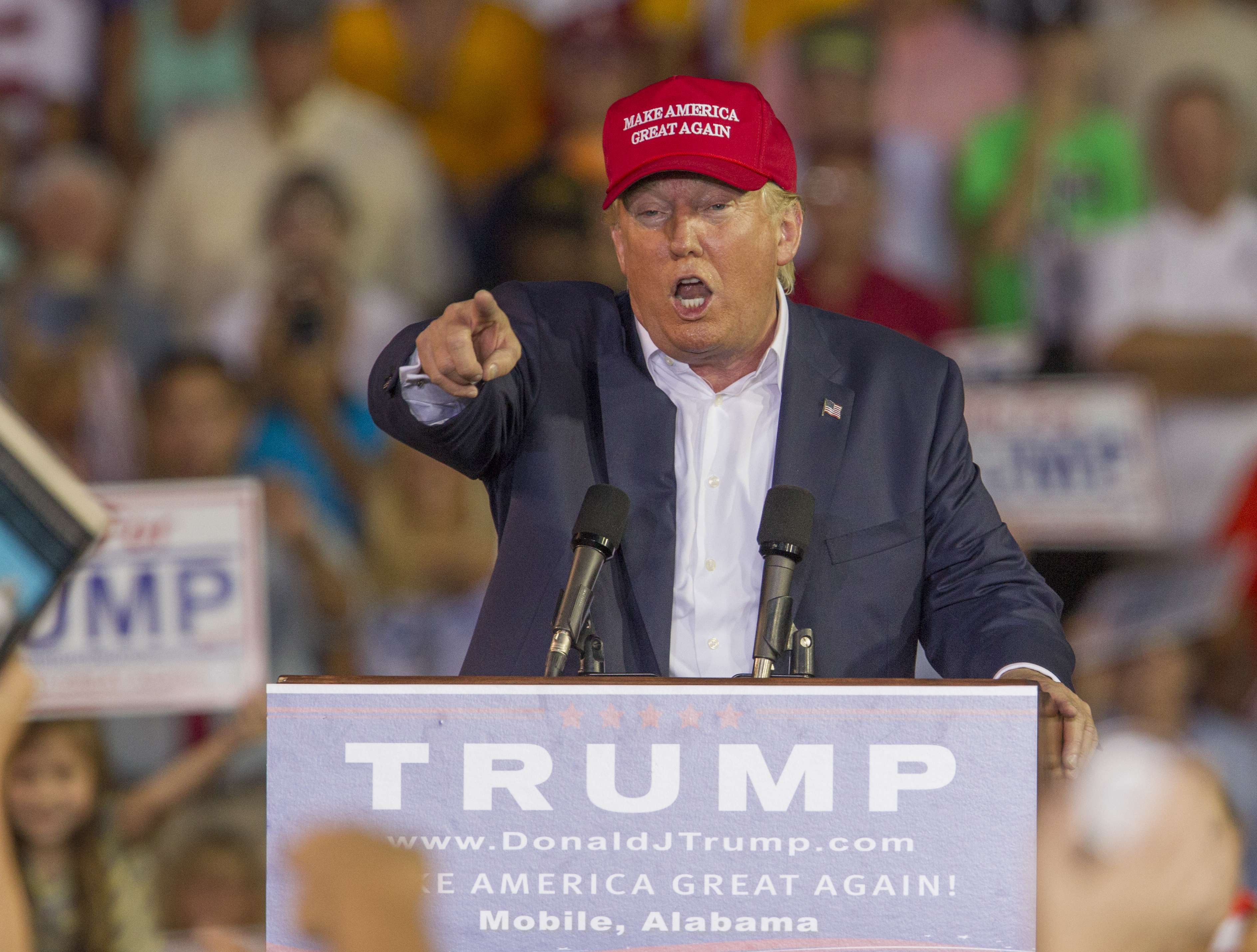 Republican presidential hopeful Donald Trump speaks at a rally.