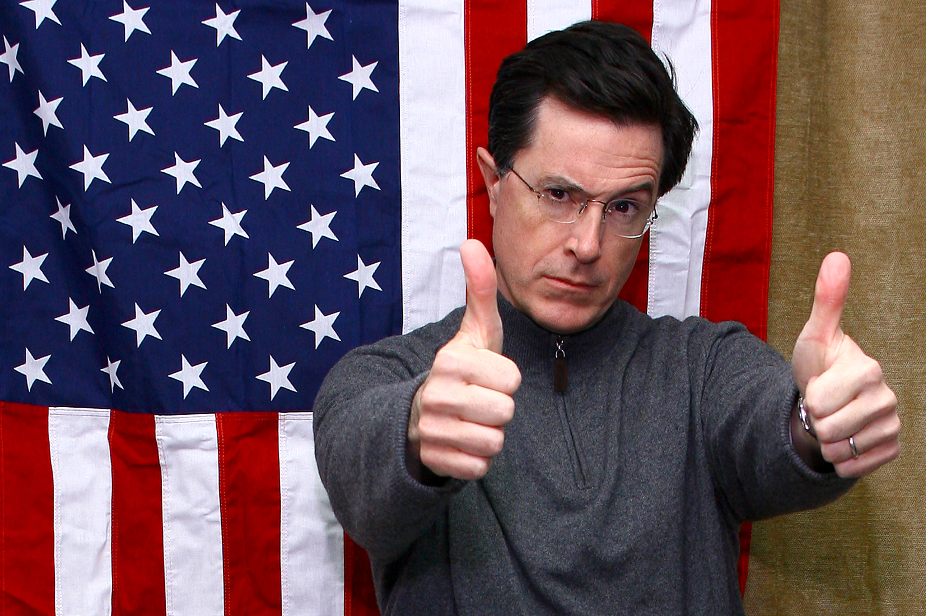 Comedian Stephen Colbert celebrates the launch of his new Ben and Jerry's ice cream flavor, Americone Dream, in 2007.