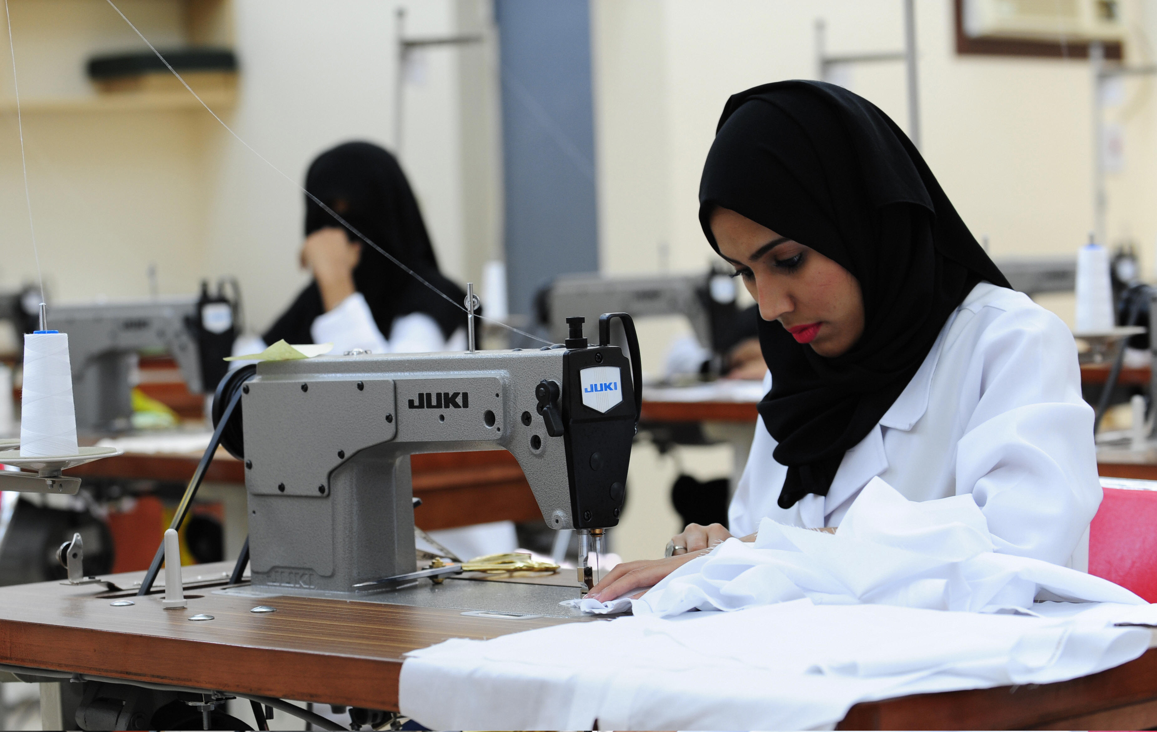 Saudi seamstresses work at a factory in the Red Sea city of Jeddah.