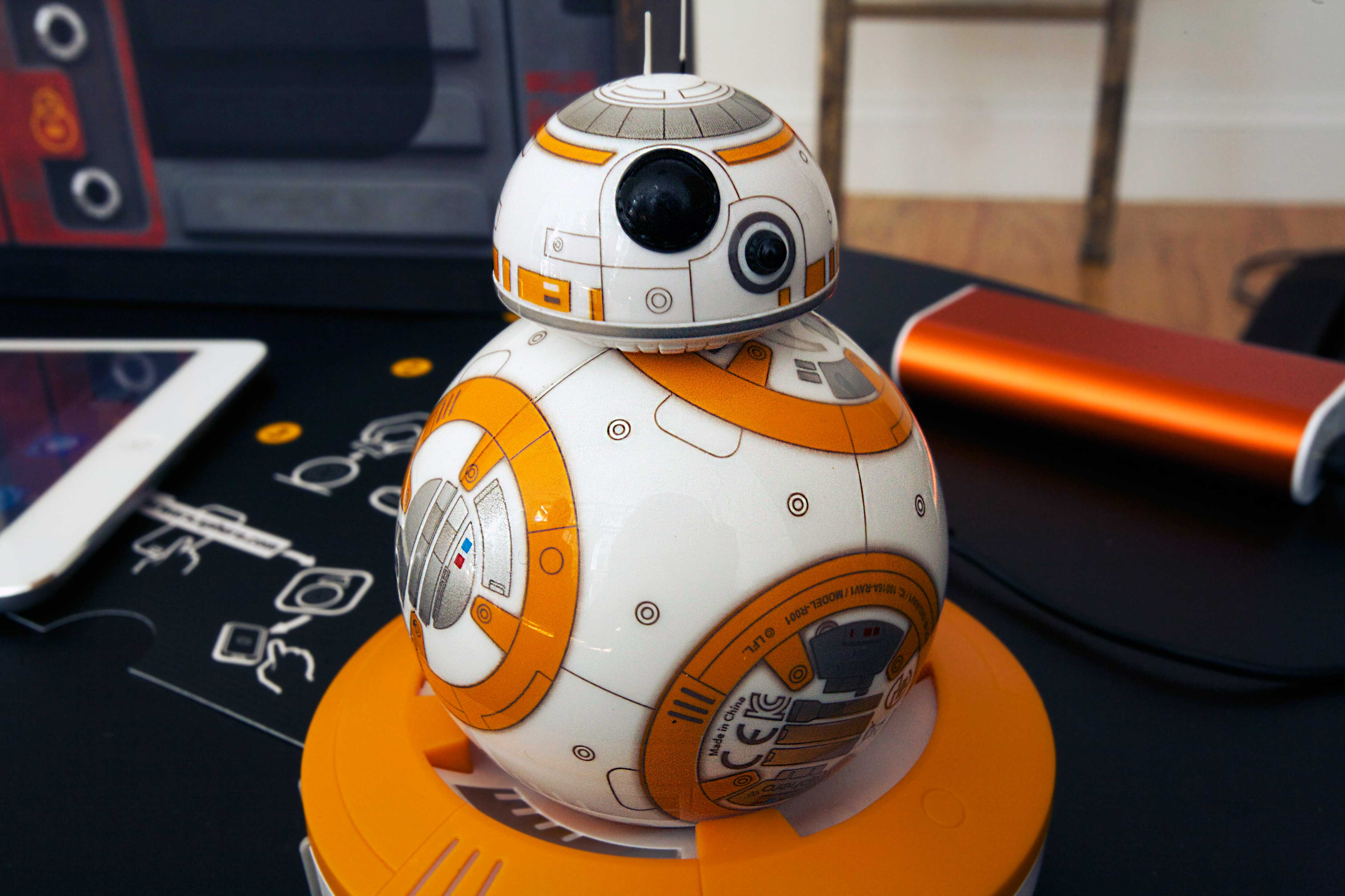 BB-8 on its charging stand.