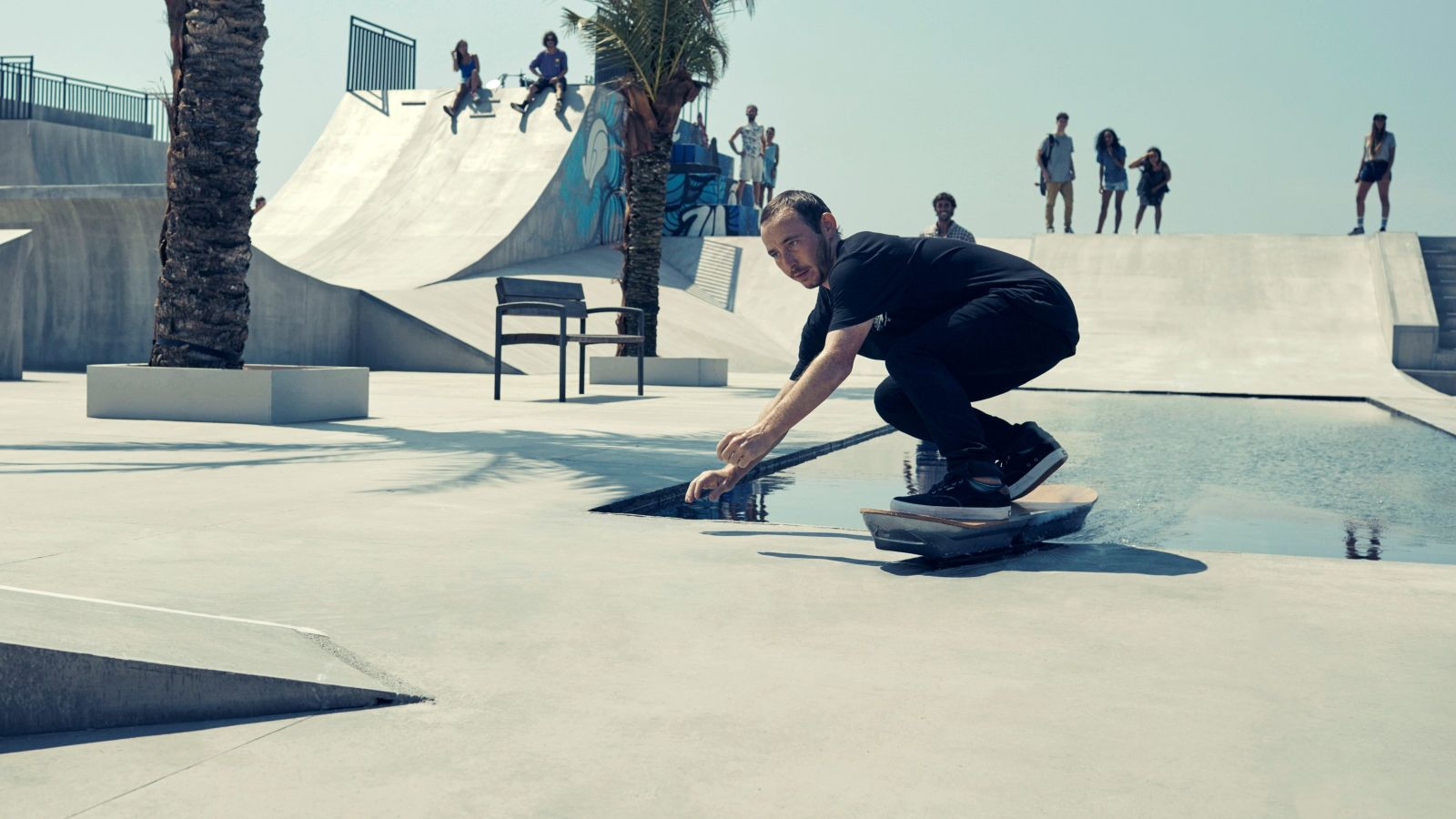 Skateboarder Ross McGouran testing out the Lexus hoverboard in Barcelona.