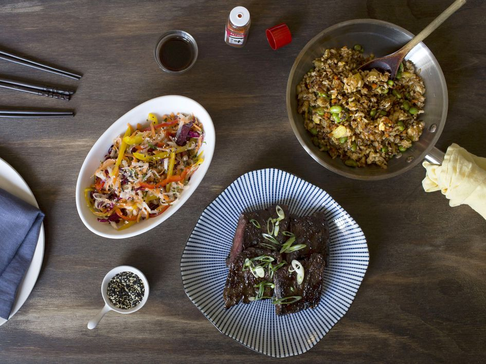 A popular meal on Kitchensurfing's menu: Korean-Style Steak with Sesame-Daikon Slaw