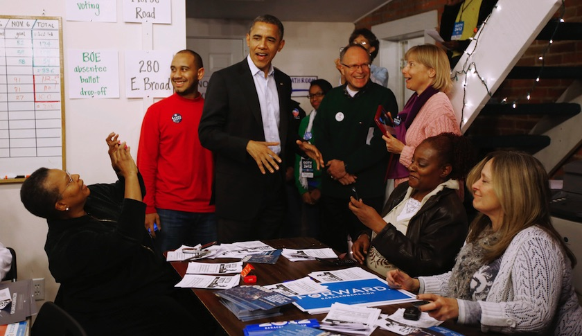 President Obama with campaign volunteers on Election Day 2012